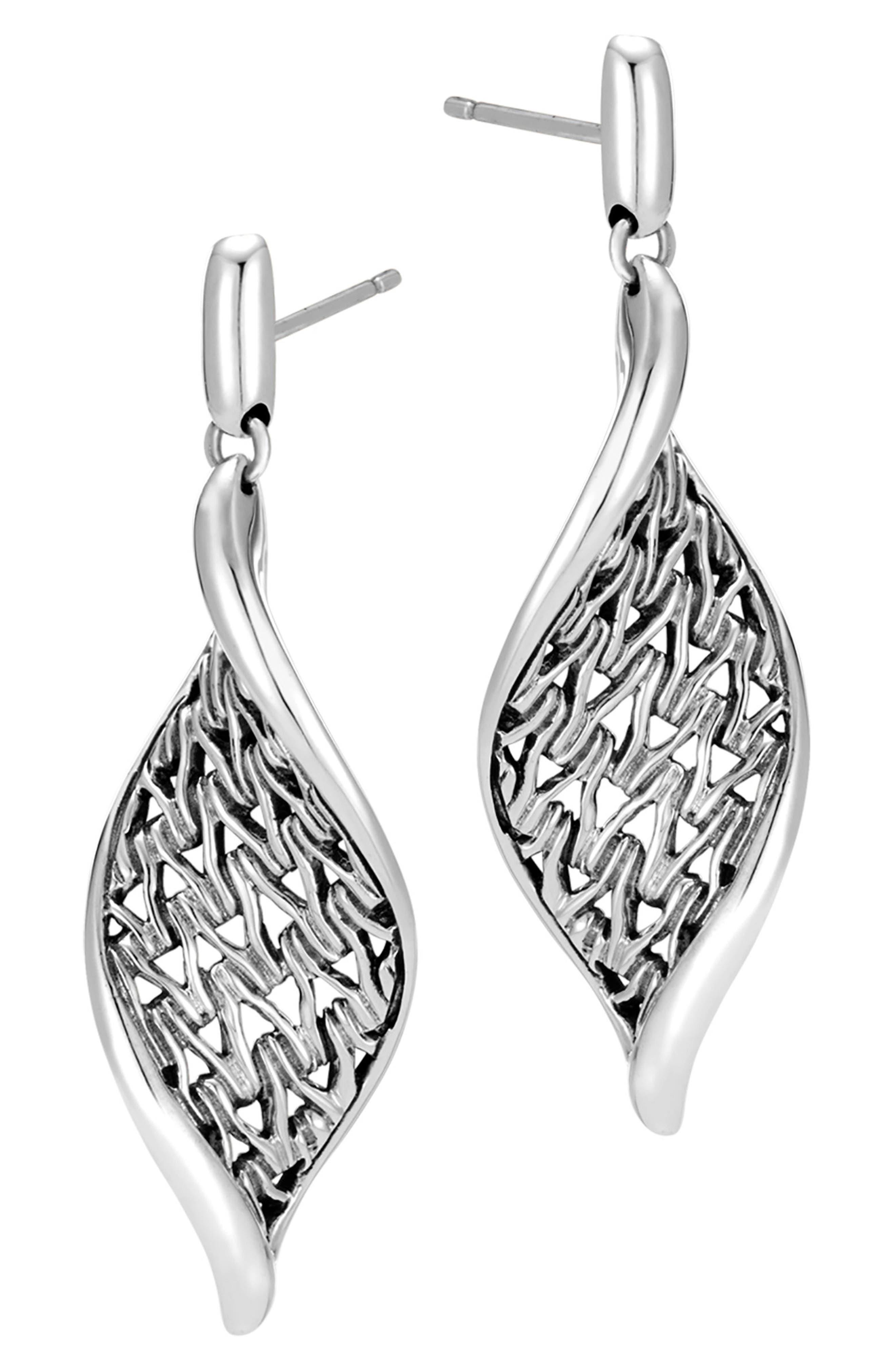 Classic Chain Wave Silver Drop Earrings,                             Alternate thumbnail 3, color,                             Silver