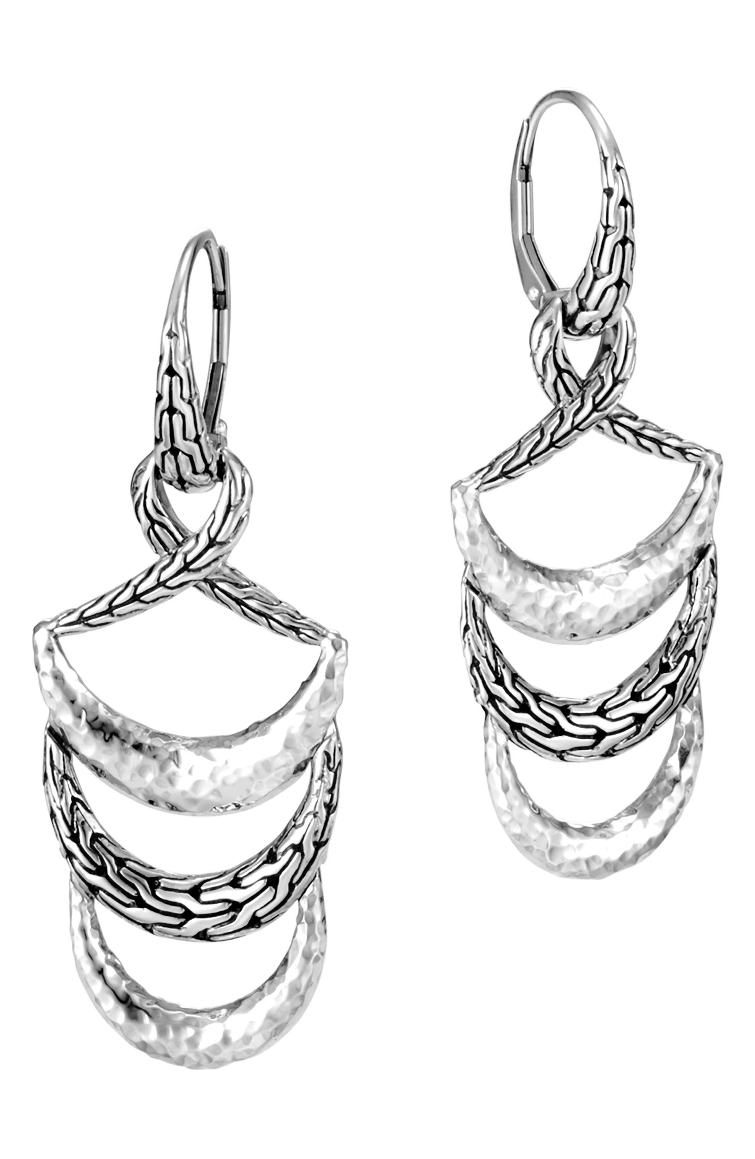 Classic Chain Hammered Drop Earrings,                             Alternate thumbnail 3, color,                             Silver