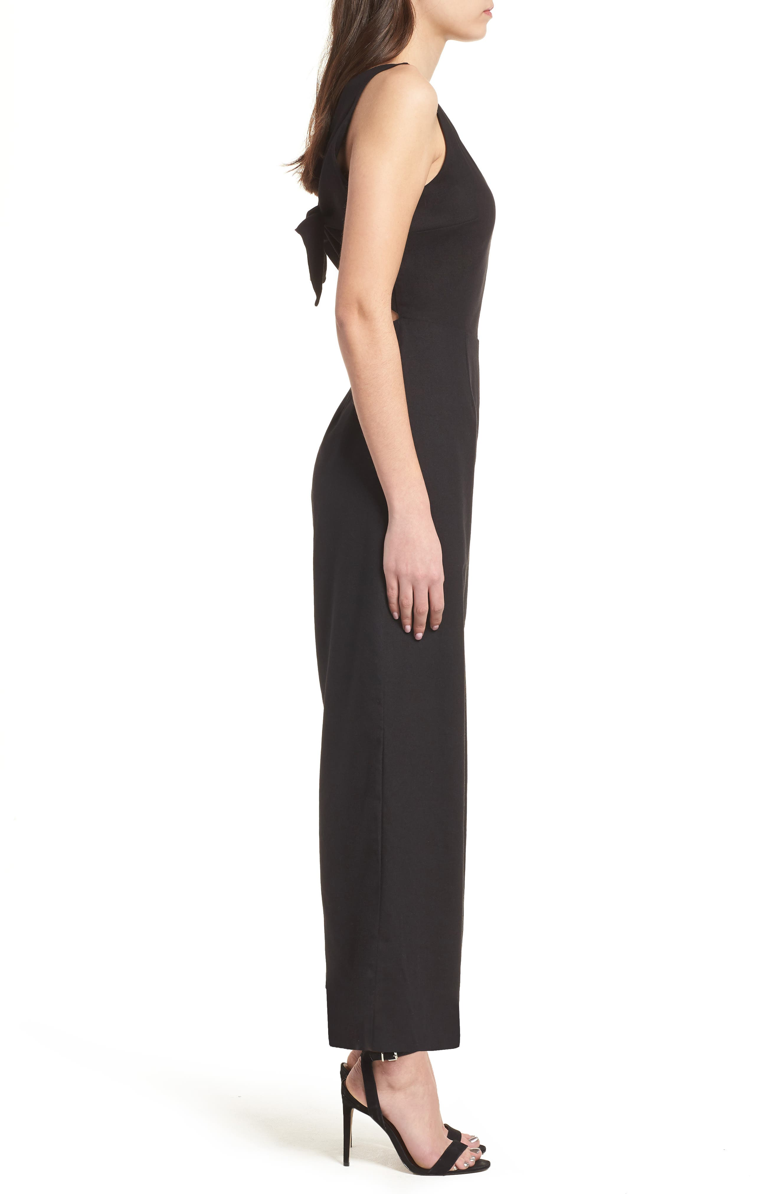 Crop Wide Leg Jumpsuit,                             Alternate thumbnail 3, color,                             Black