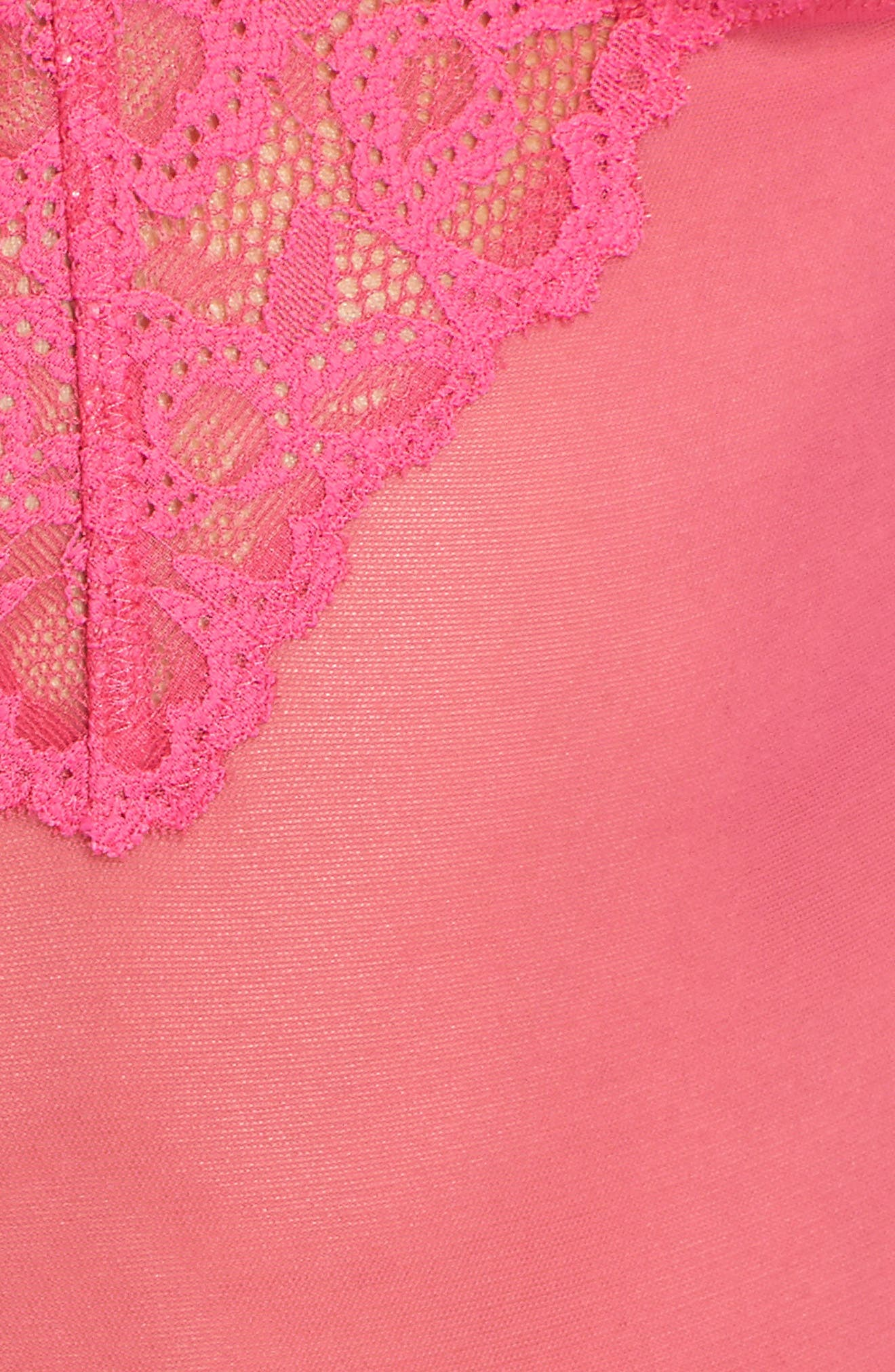Charming Thong Teddy,                             Alternate thumbnail 6, color,                             Pink Peacock