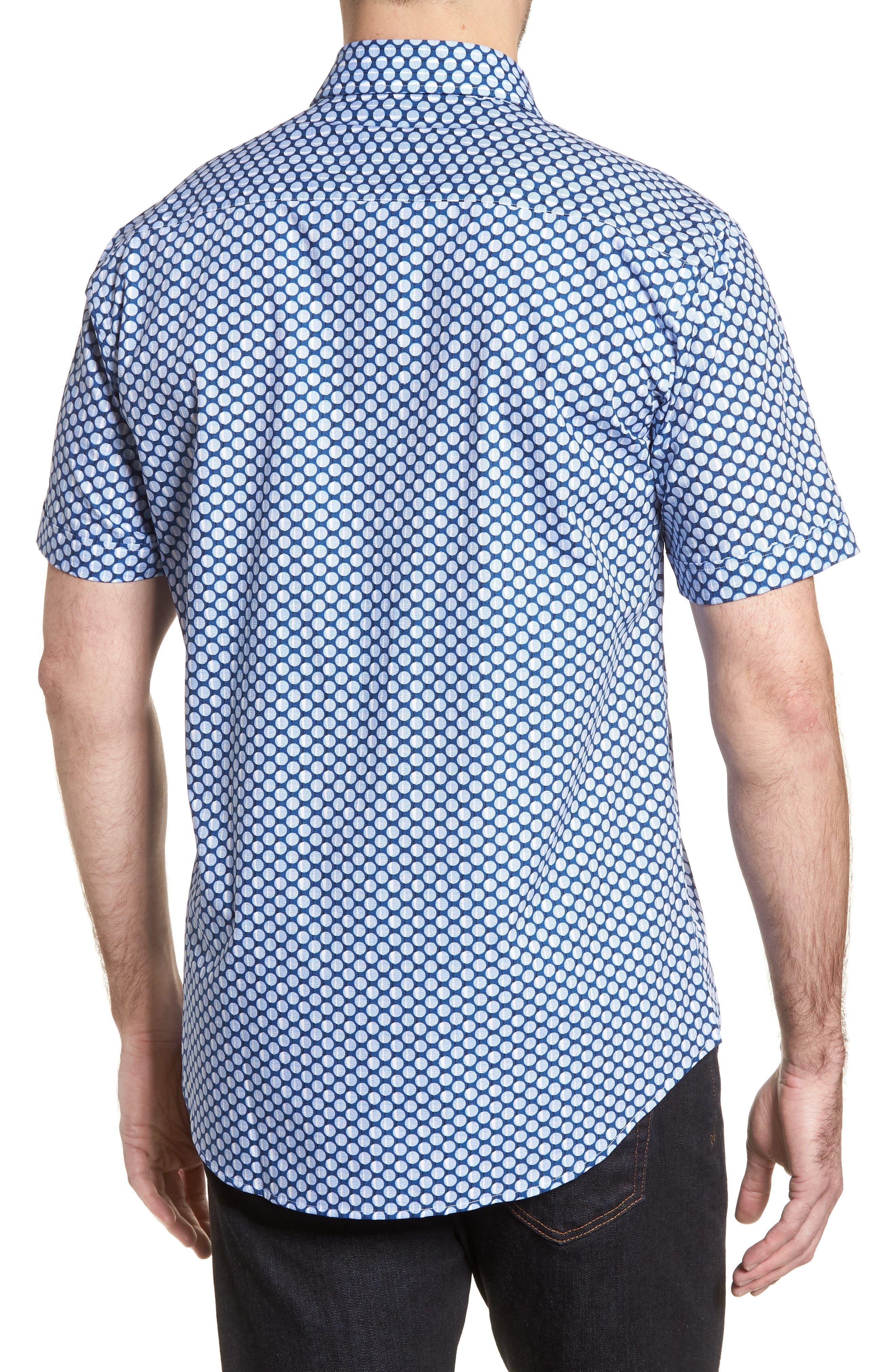 Shaped Fit Polka Dot Sport Shirt,                             Alternate thumbnail 2, color,                             Classic Blue