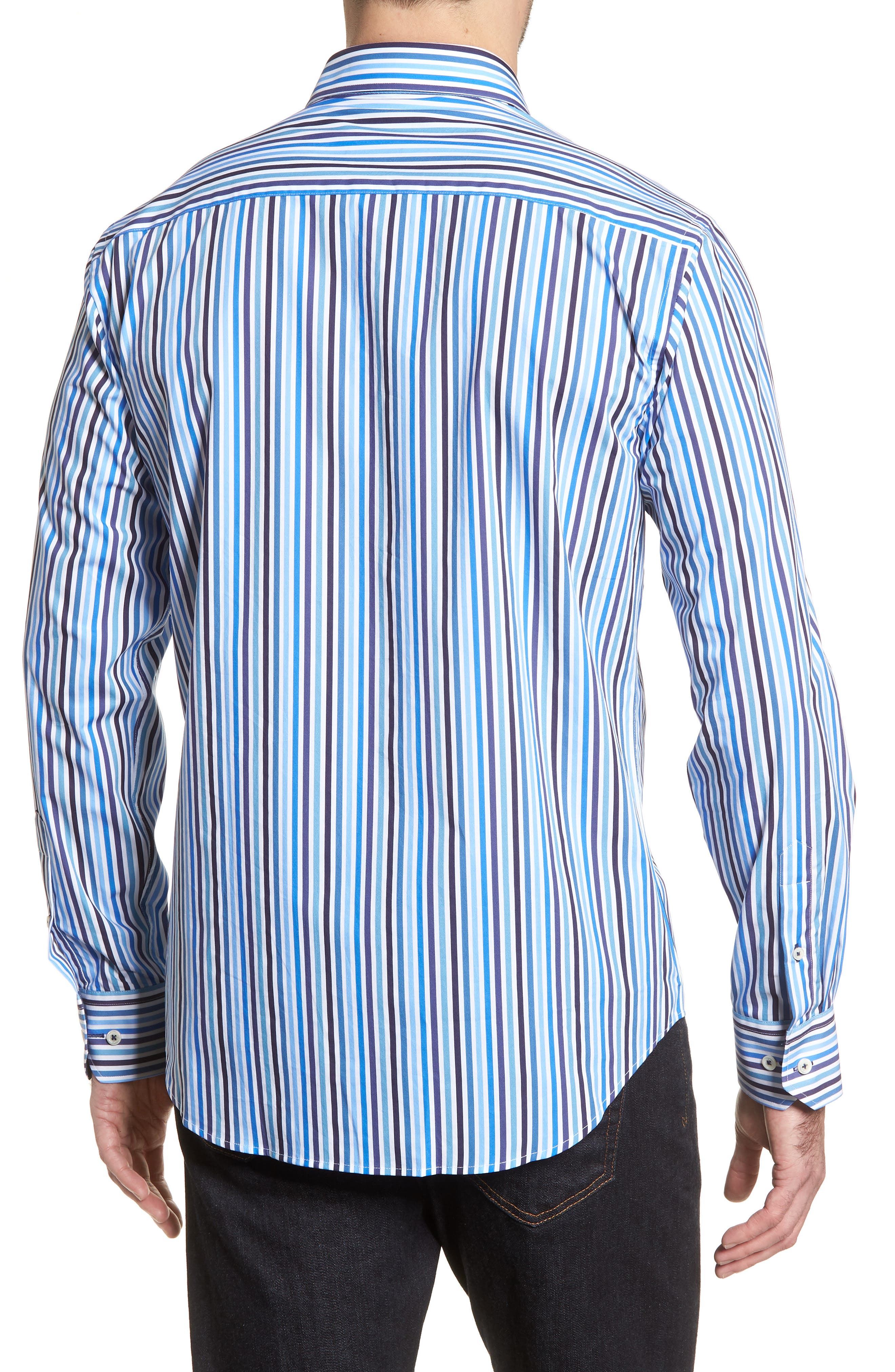 Shaped Fit Candy Stripe Sport Shirt,                             Alternate thumbnail 2, color,                             Classic Blue
