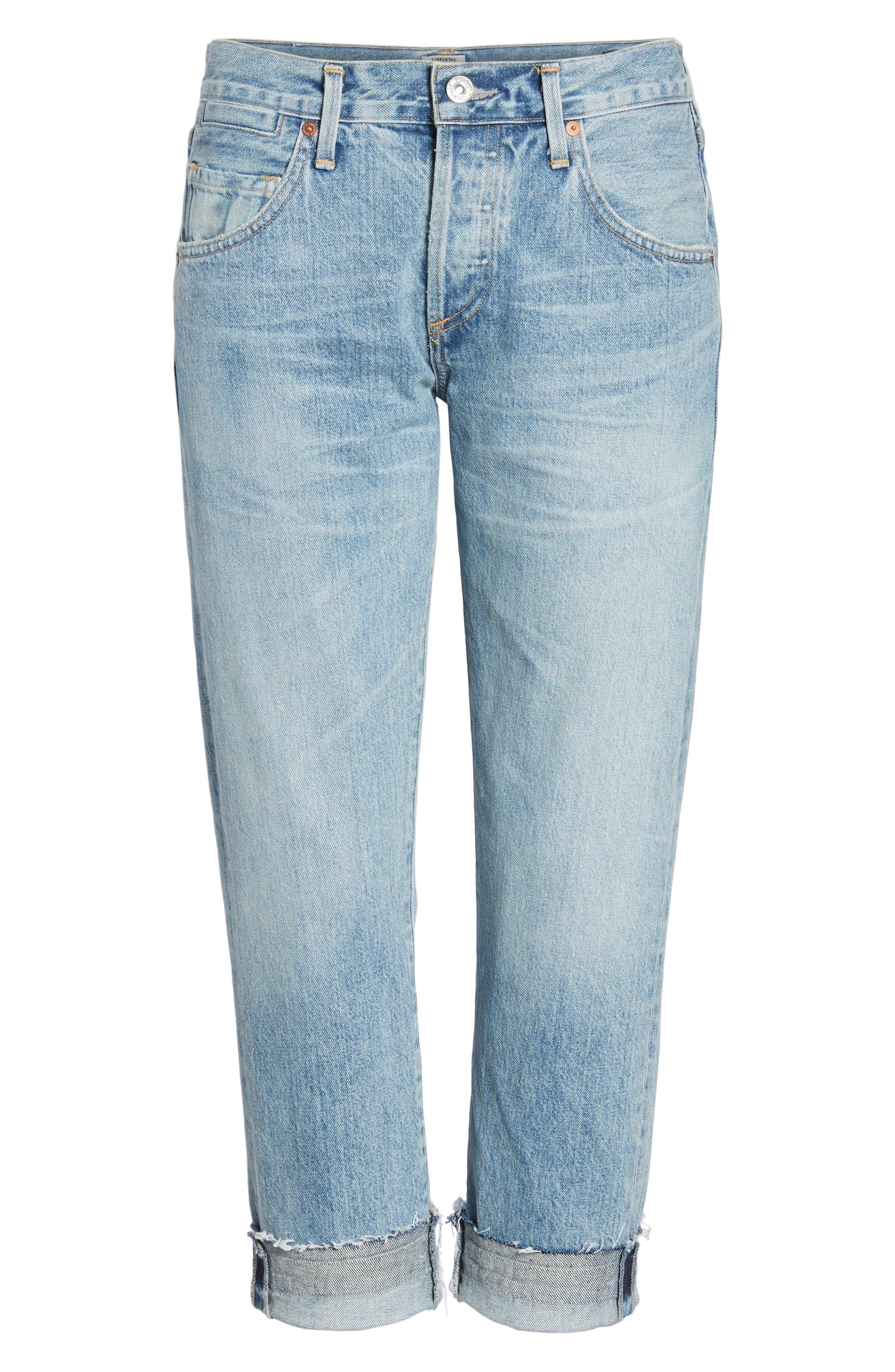 Emerson Crop Slim Fit Boyfriend Jeans,                             Alternate thumbnail 7, color,                             Stax