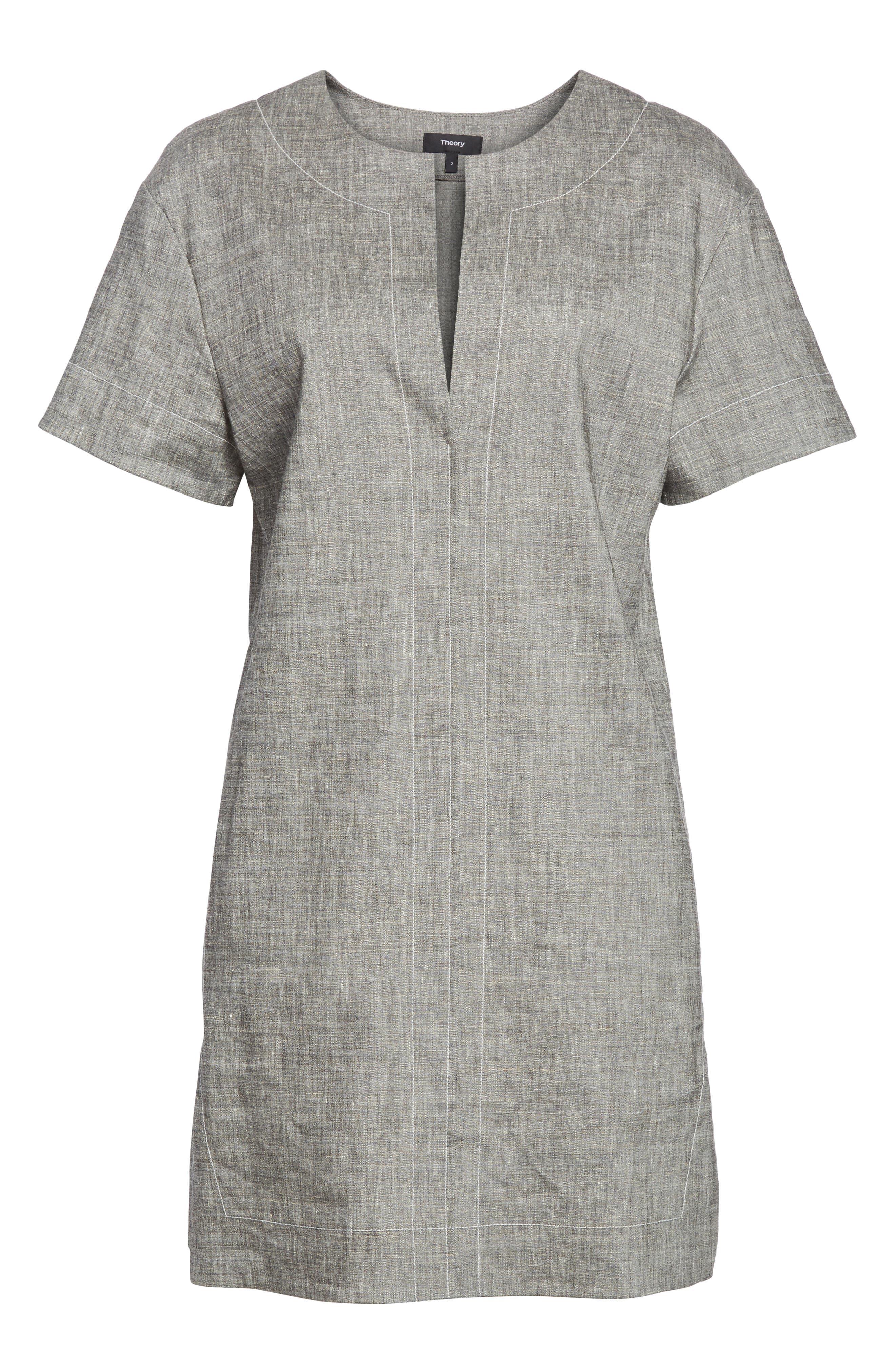 Split Neck Linen Blend Shift Dress,                             Alternate thumbnail 6, color,                             Black