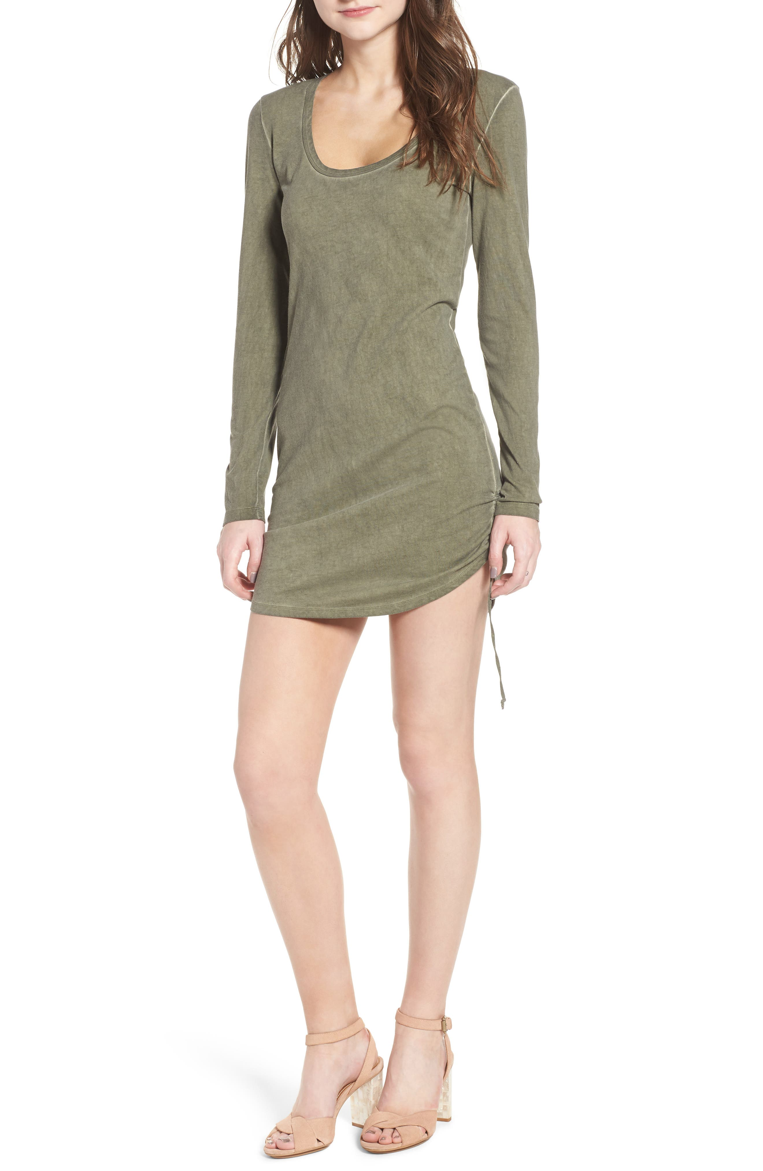 Scoop Neck Body-Con Dress,                             Main thumbnail 1, color,                             Olive Smoke