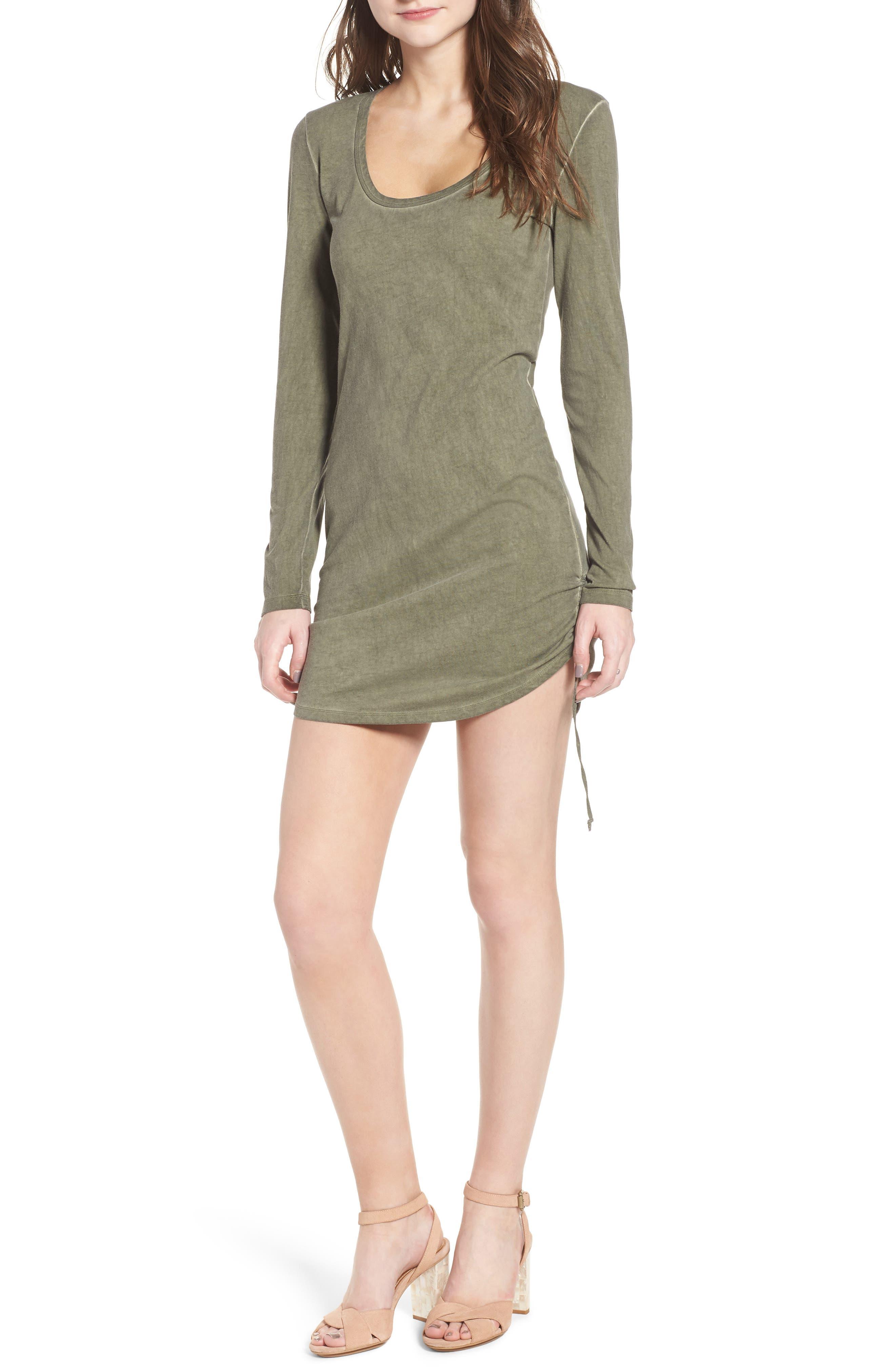 Scoop Neck Body-Con Dress,                         Main,                         color, Olive Smoke