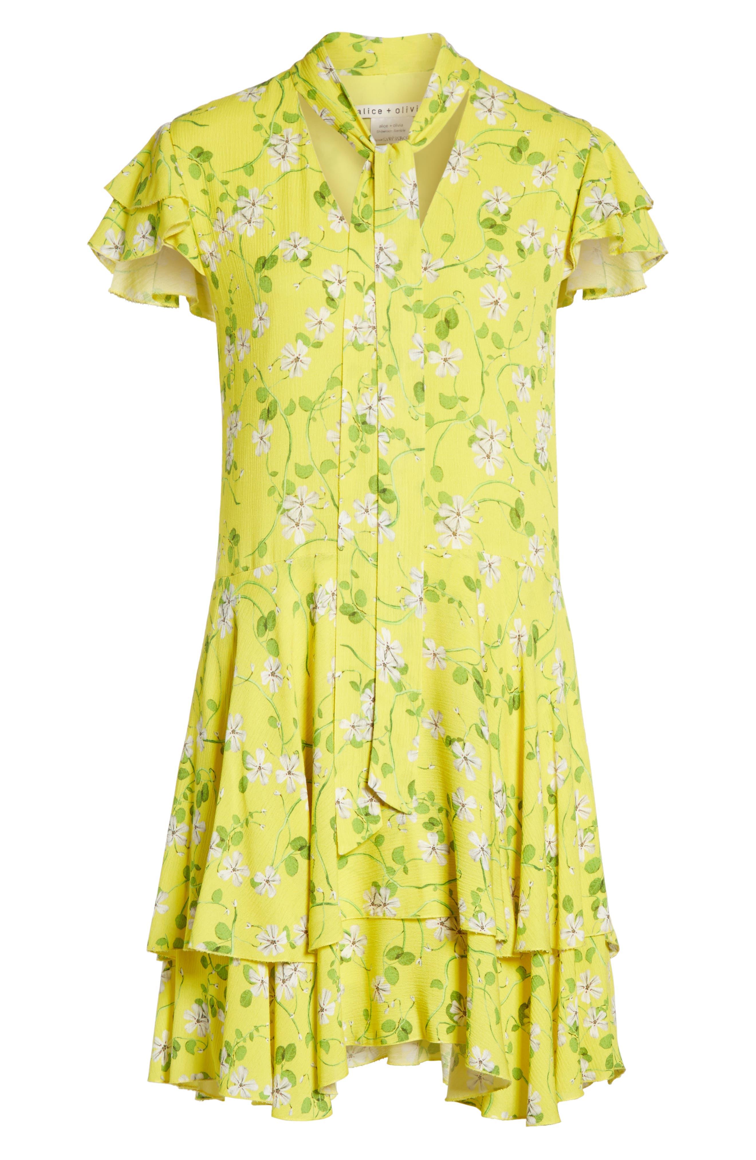 Moore Flutter Sleeve Layered Tunic Dress,                             Alternate thumbnail 6, color,                             Spring Primrose-Lemon