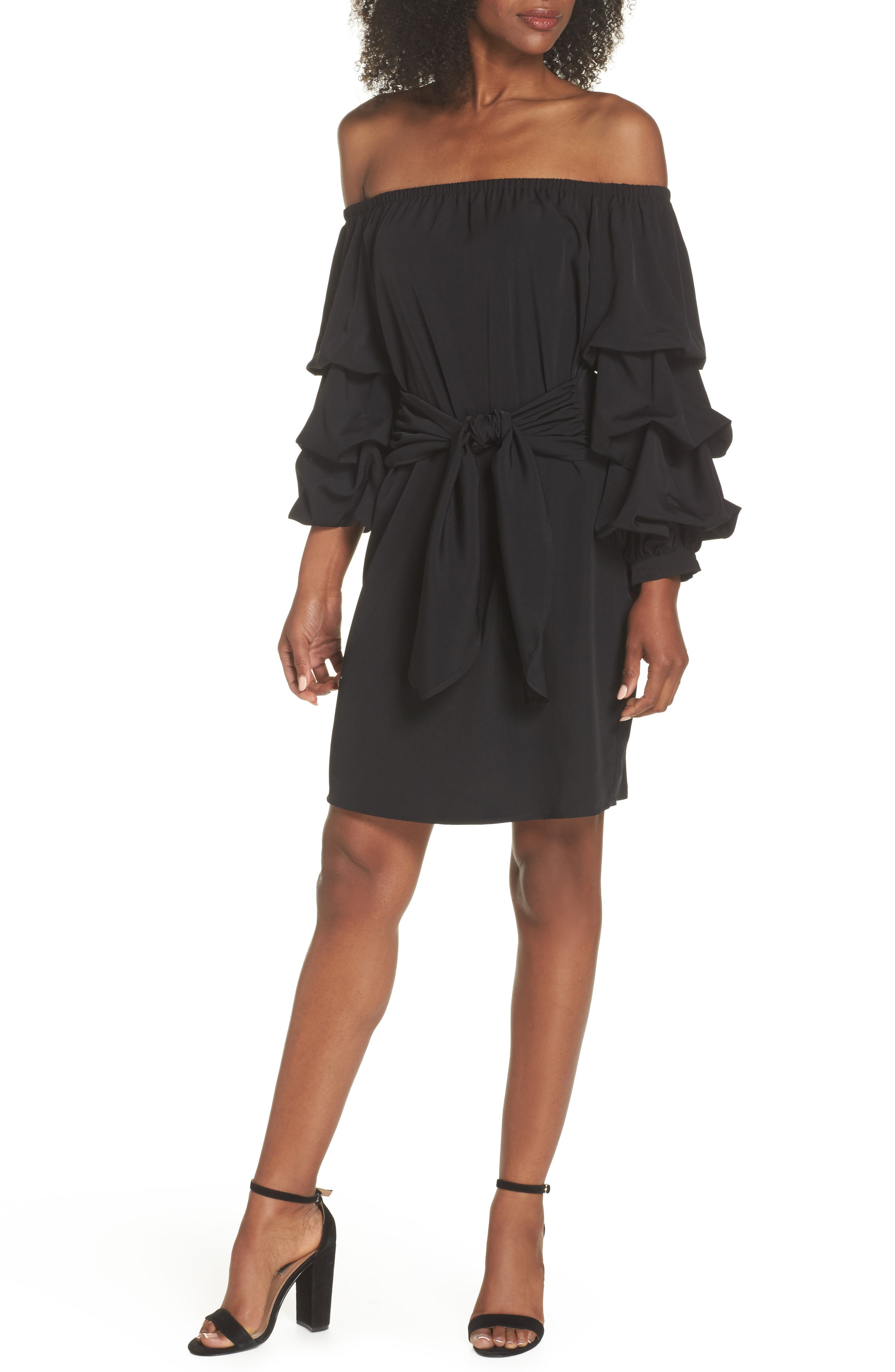 Off the Shoulder Tiered Sleeve Dress,                             Main thumbnail 1, color,                             Black