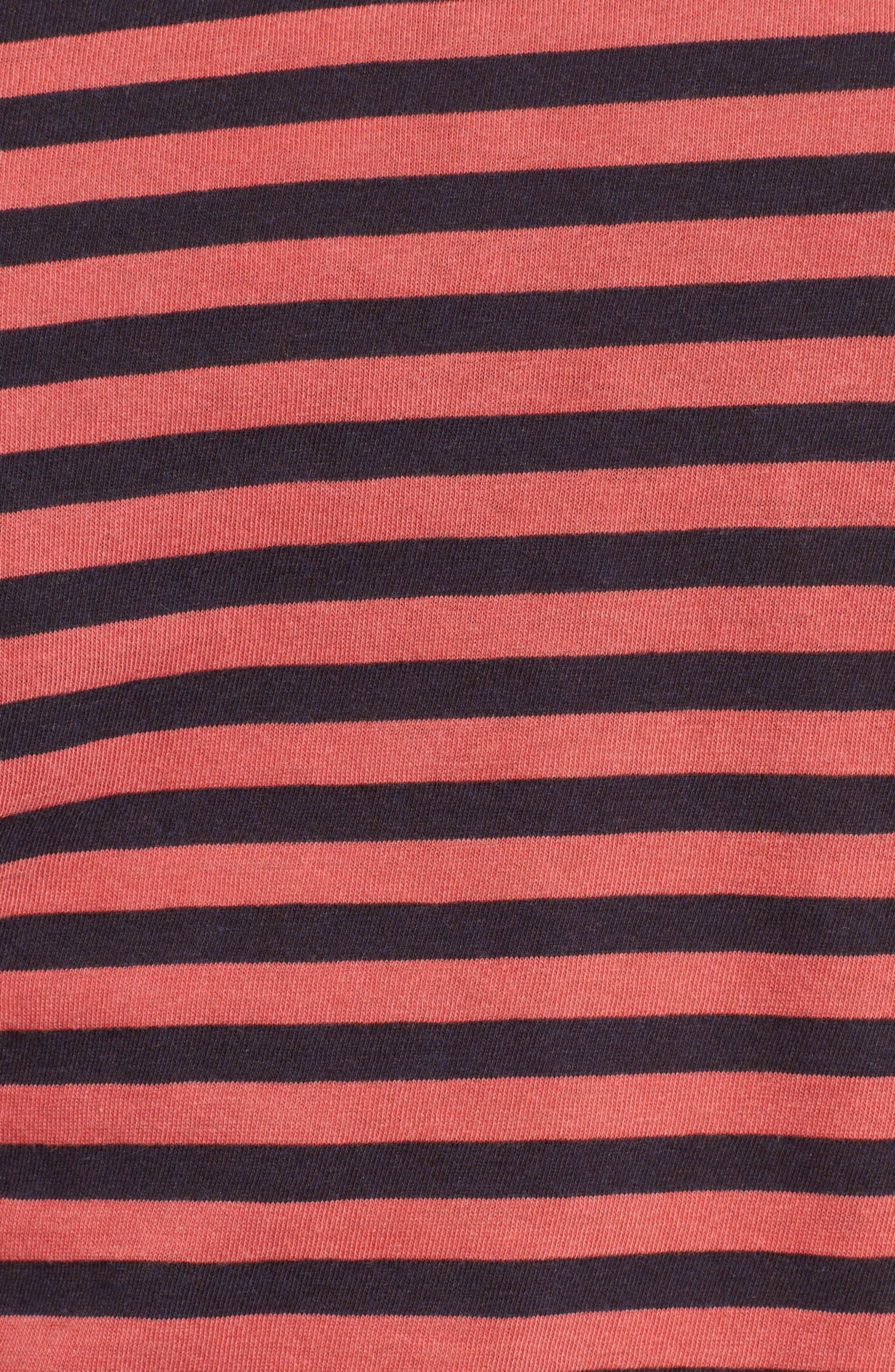 Stripe Cotton Boy Tee,                             Alternate thumbnail 5, color,                             Chili