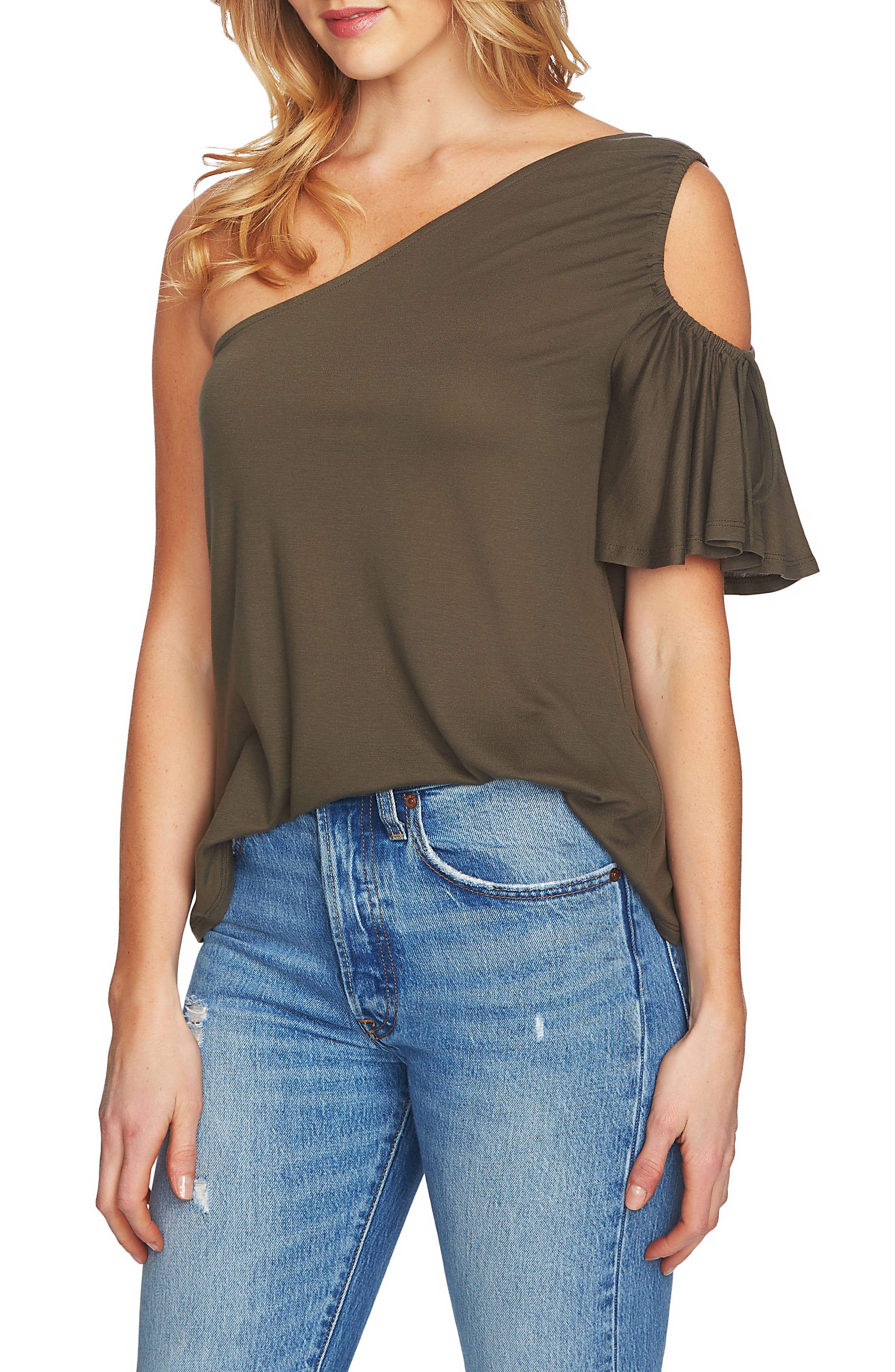 Cutout One-Shoulder Top,                             Main thumbnail 1, color,                             311-Olive Tree