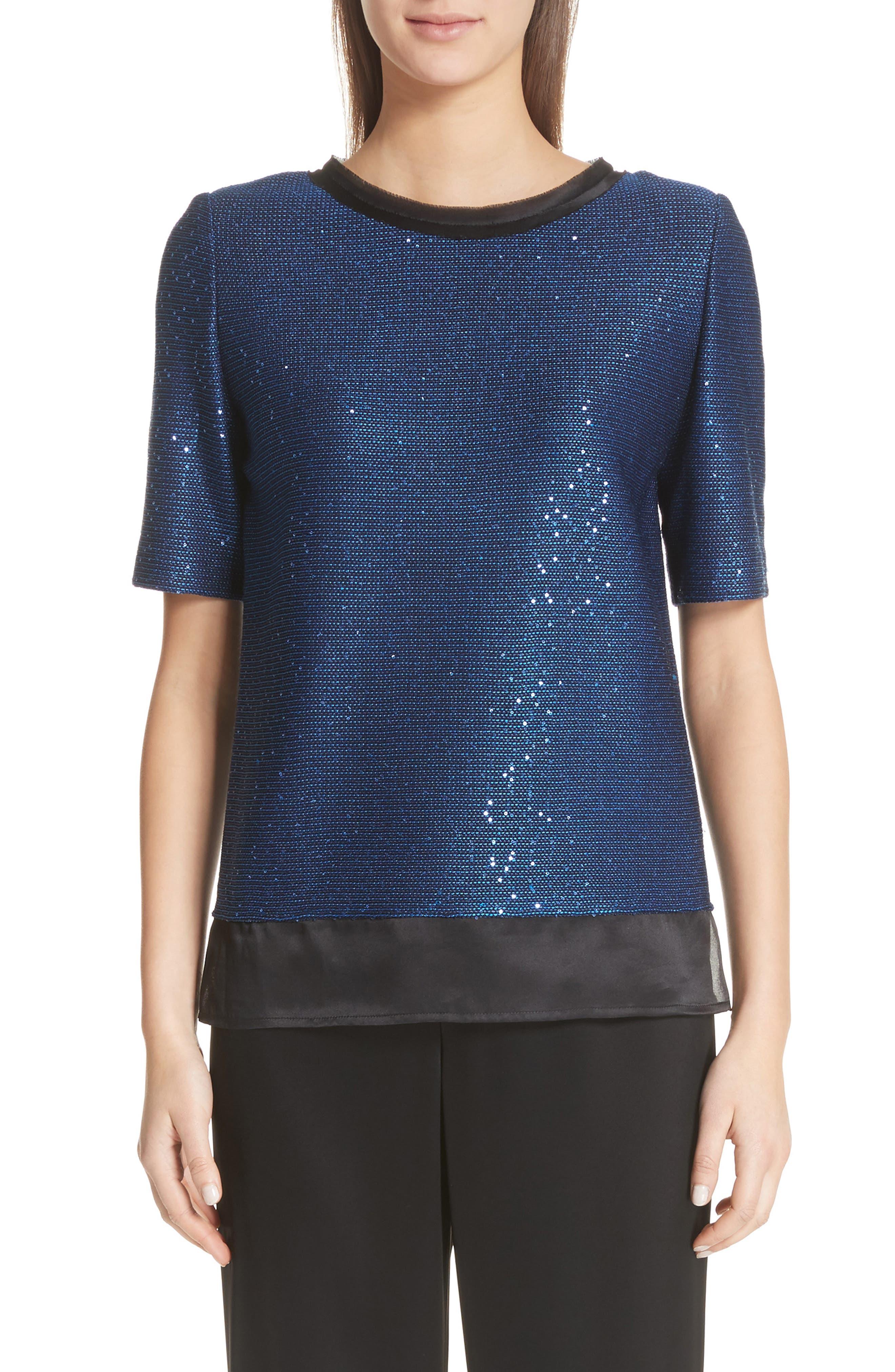 Paillette Knit Top,                             Main thumbnail 1, color,                             Cobalt Multi