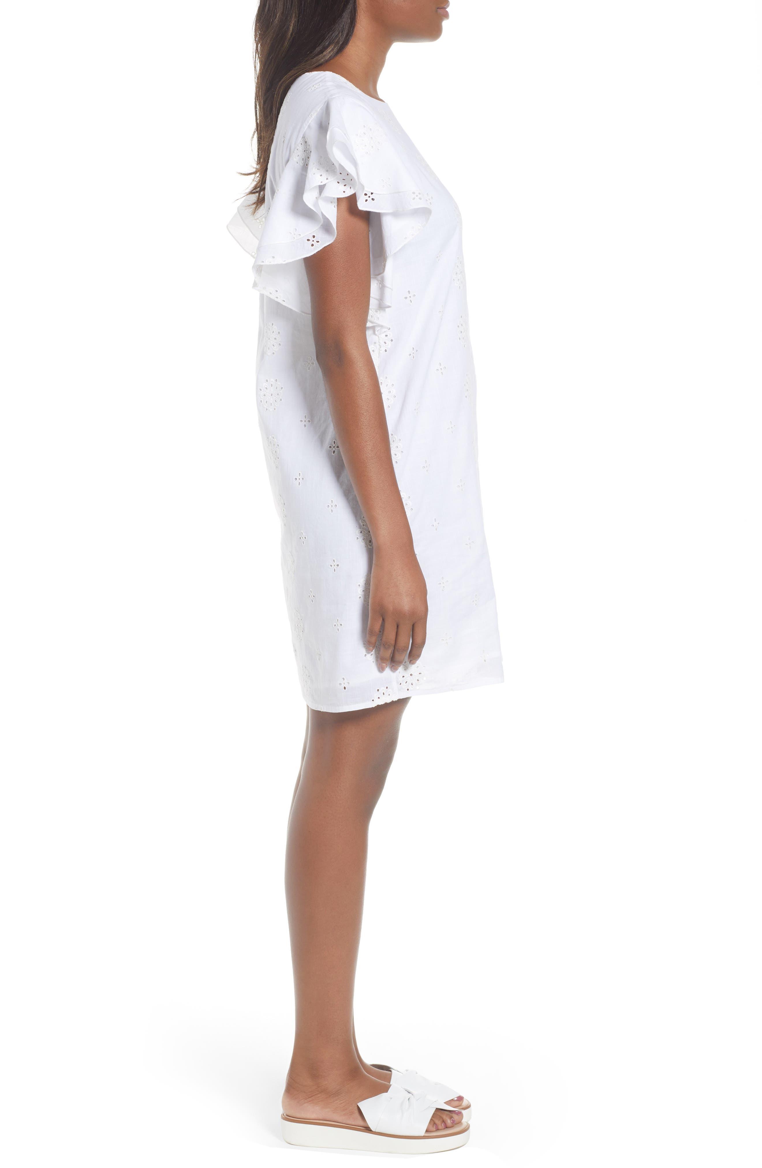 Eyelet Flutter Sleeve Cotton Dress,                             Alternate thumbnail 3, color,                             White Cap