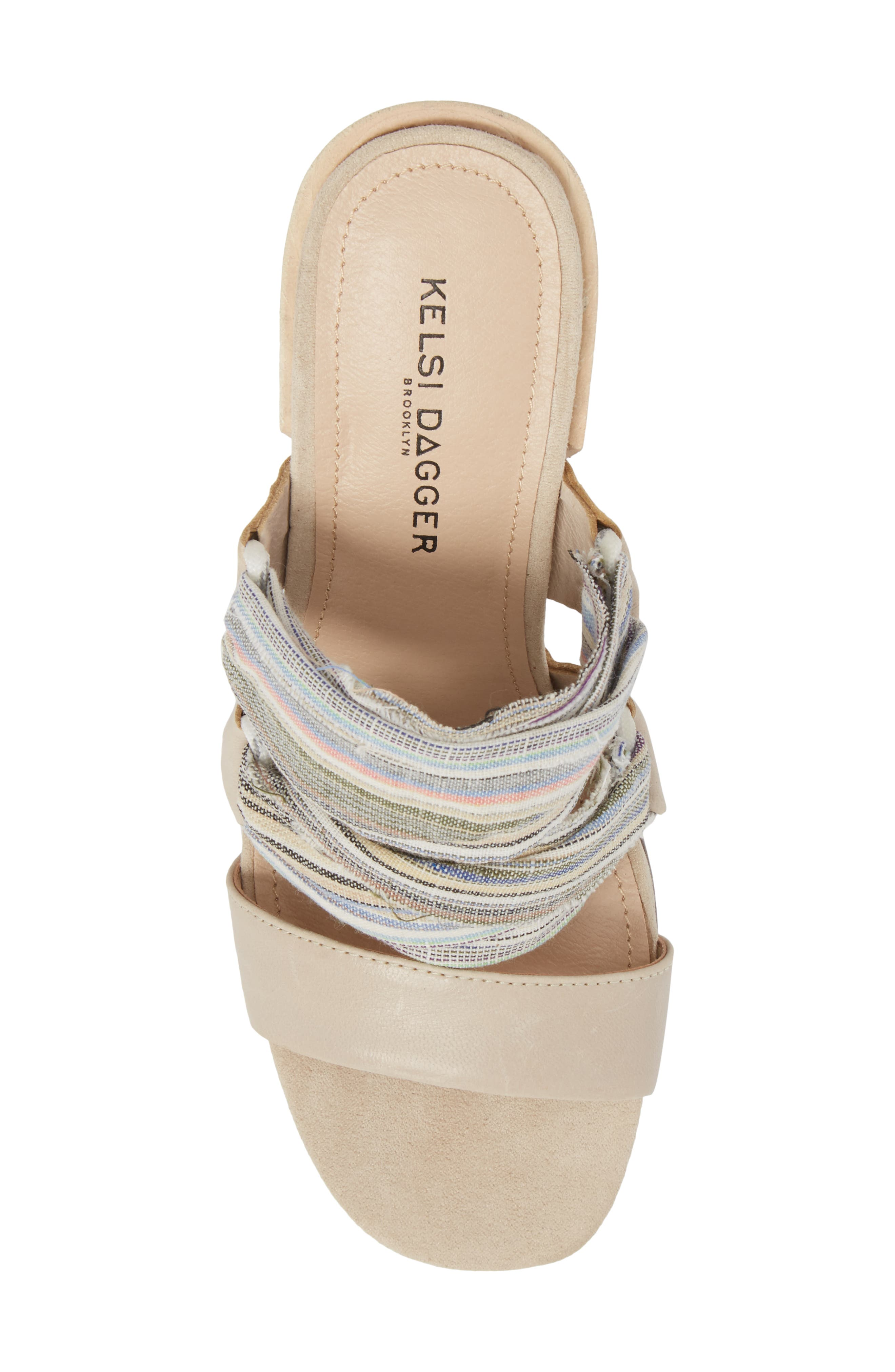 Monaco Block Heel Sandal,                             Alternate thumbnail 5, color,                             Bone/ Multi