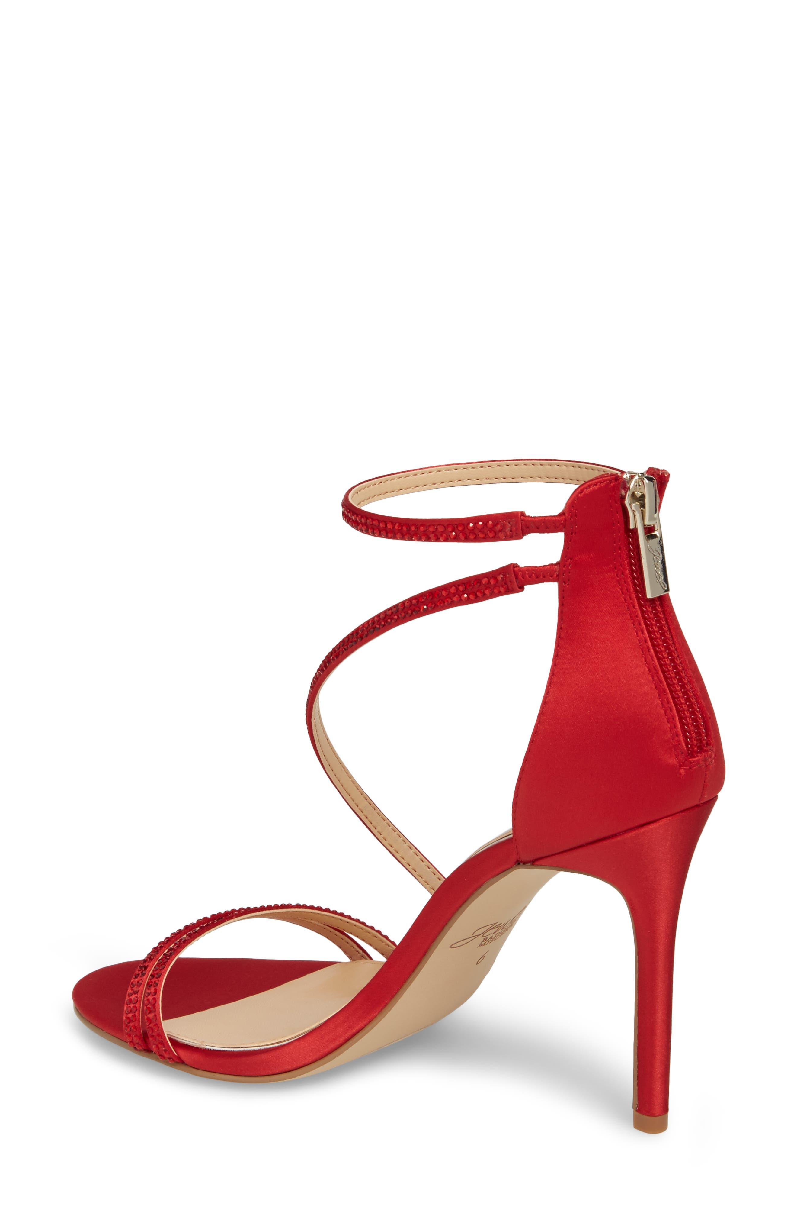 Gail Crystal Embellished Sandal,                             Alternate thumbnail 2, color,                             Red Satin