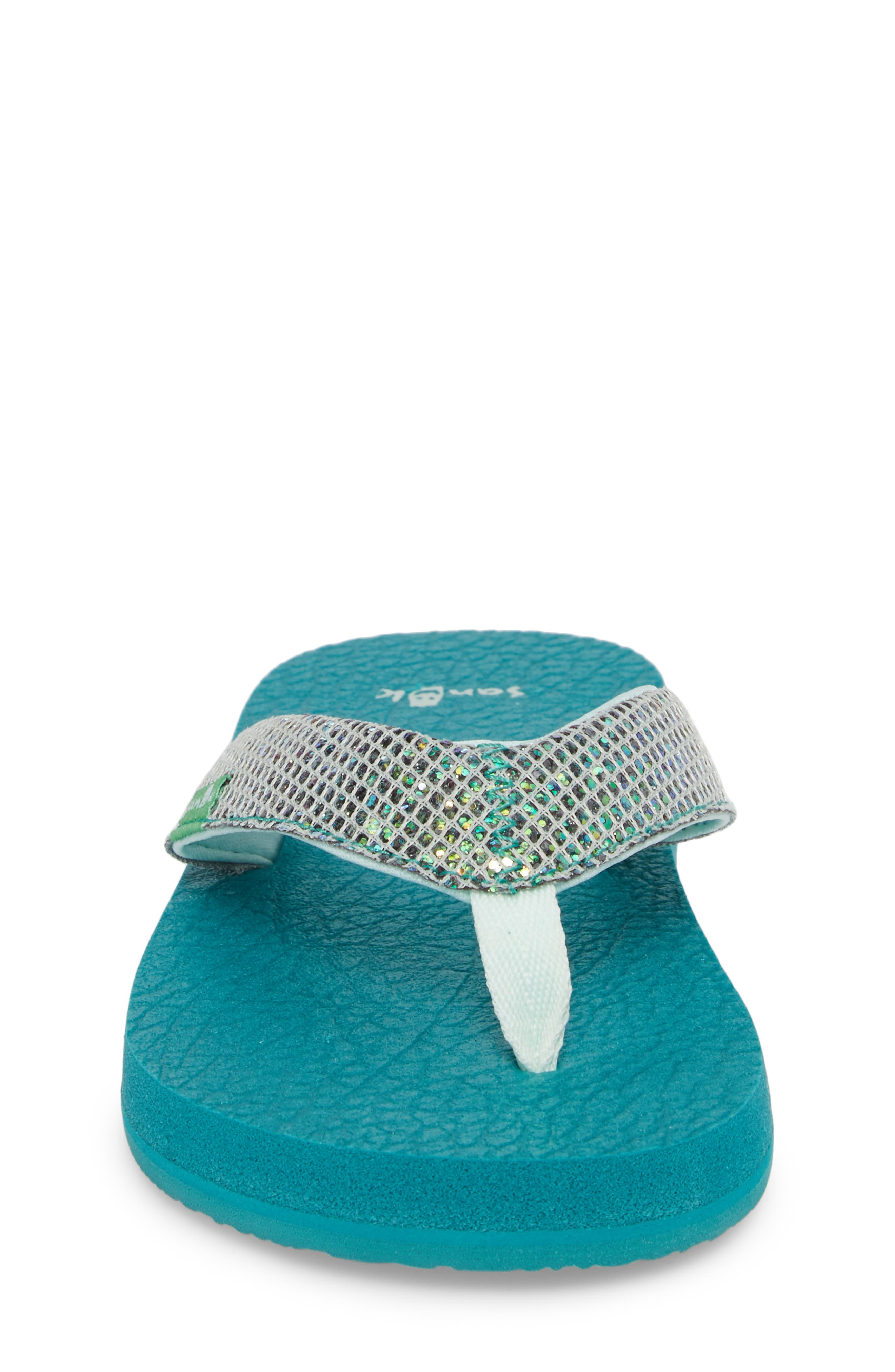 'Yoga' Glitter Sandal,                             Alternate thumbnail 4, color,                             Sea Green