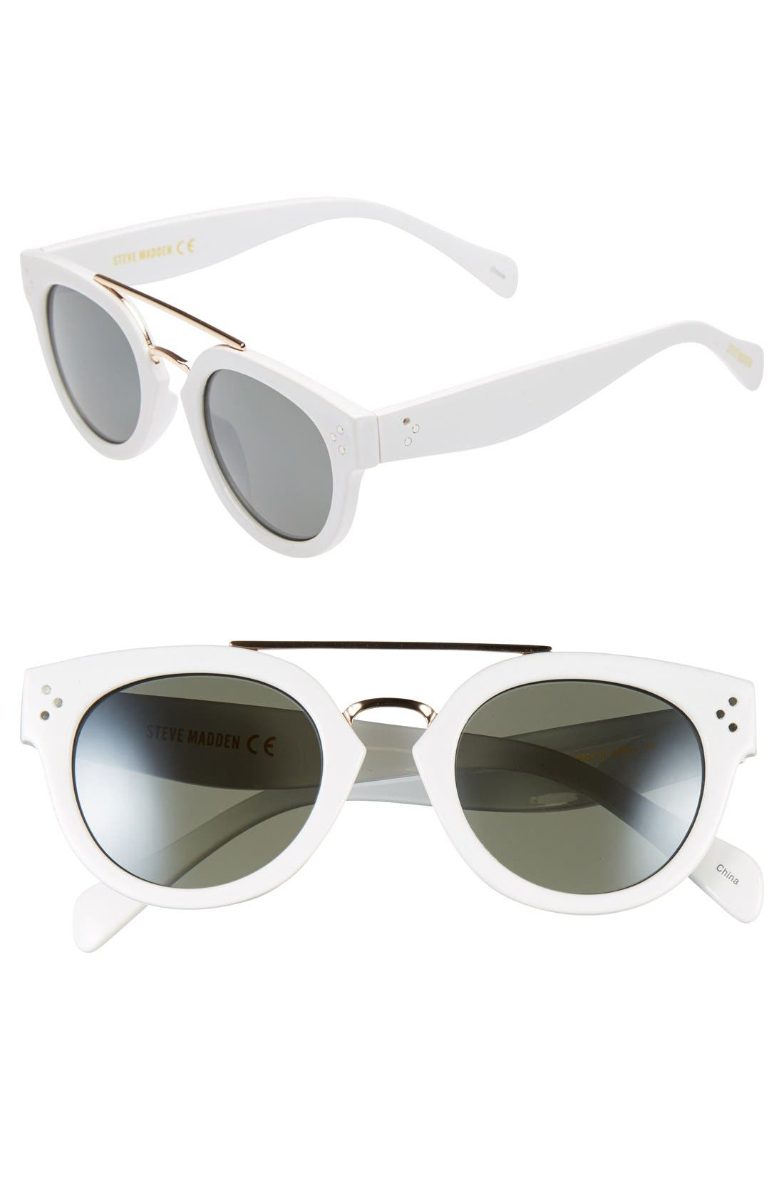 Alternate Image 1 Selected - Steve Madden 48mm Metal Brow Bar Round Sunglasses