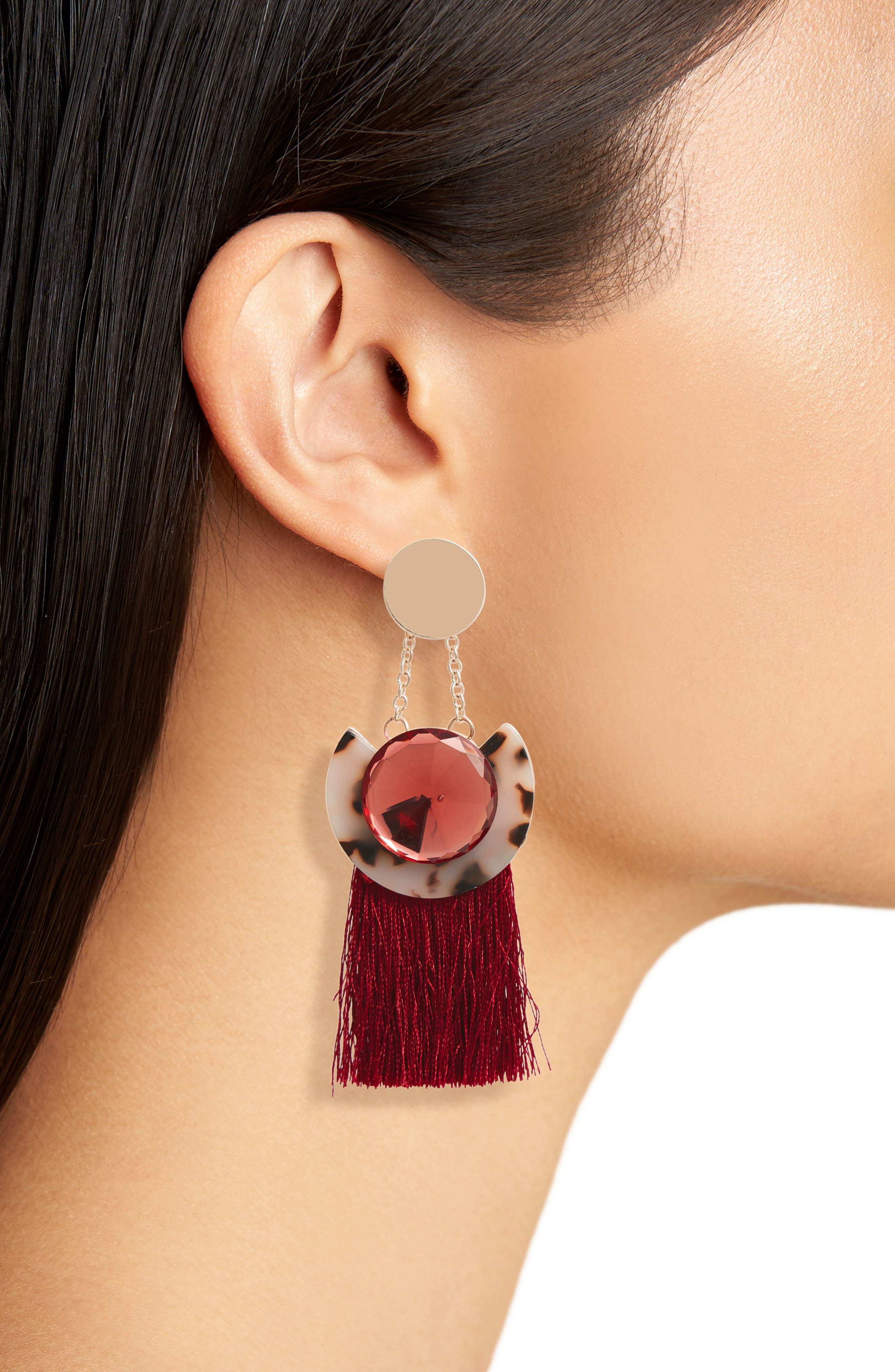 Disc Tassel Earrings,                             Alternate thumbnail 2, color,                             Burgundy