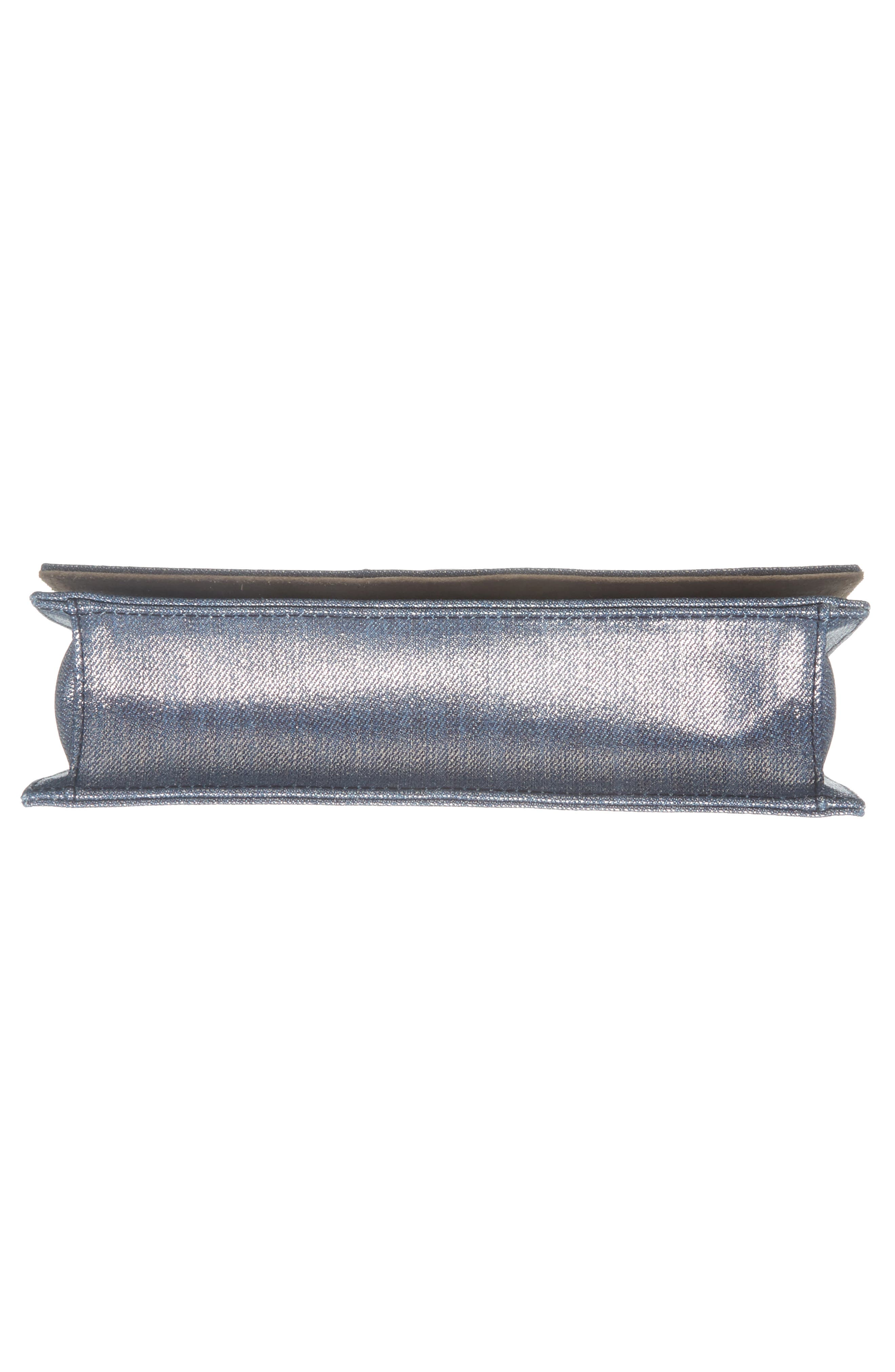 Florence Metallic Denim Glitter Clutch,                             Alternate thumbnail 6, color,                             Dusk Blue