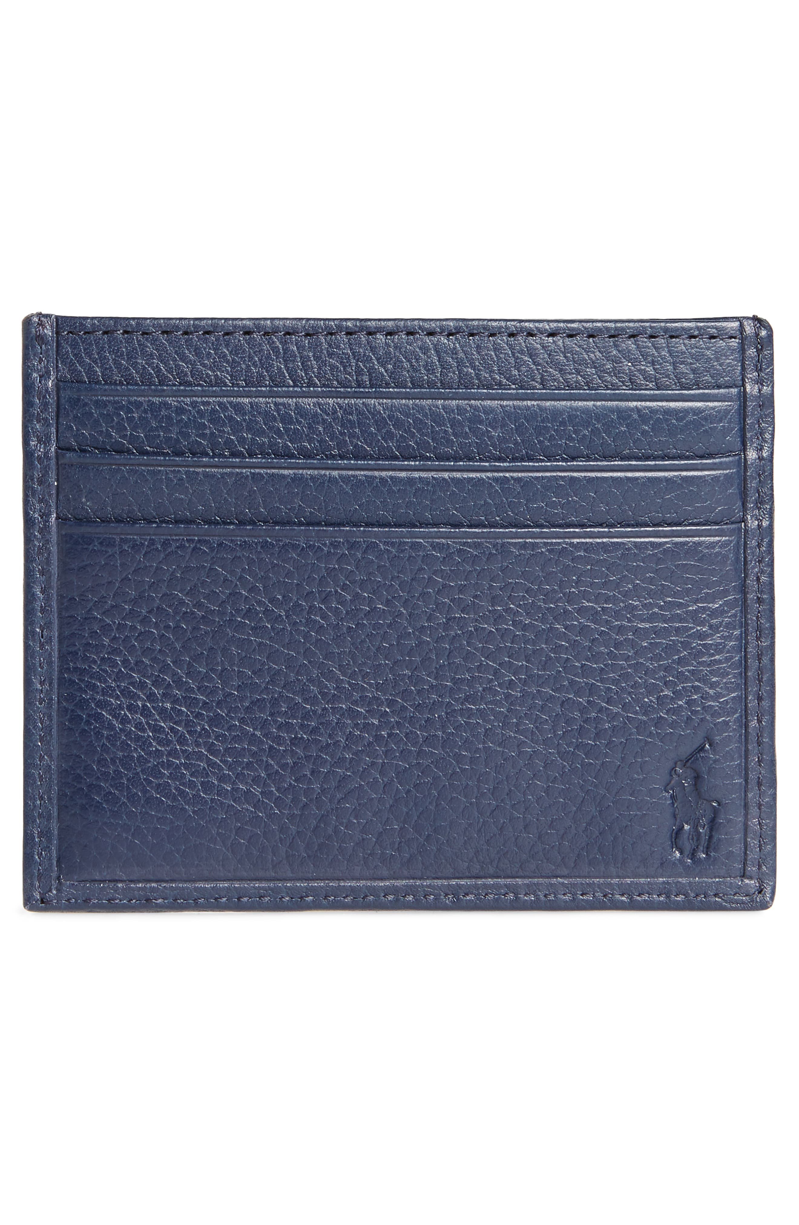 Leather Card Case,                             Alternate thumbnail 2, color,                             Blue