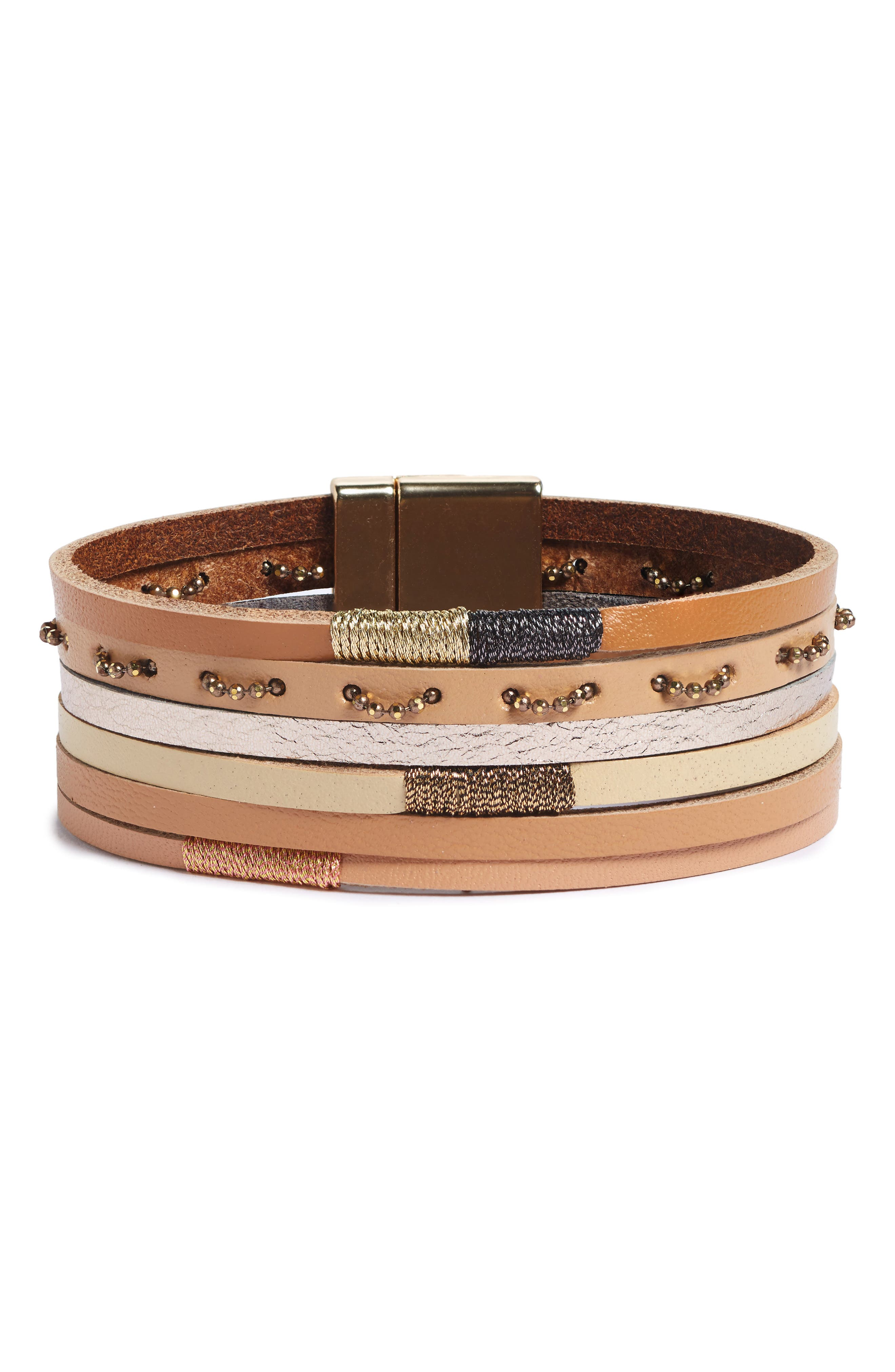 Multi Row Leather Bracelet,                             Main thumbnail 1, color,                             Ivory