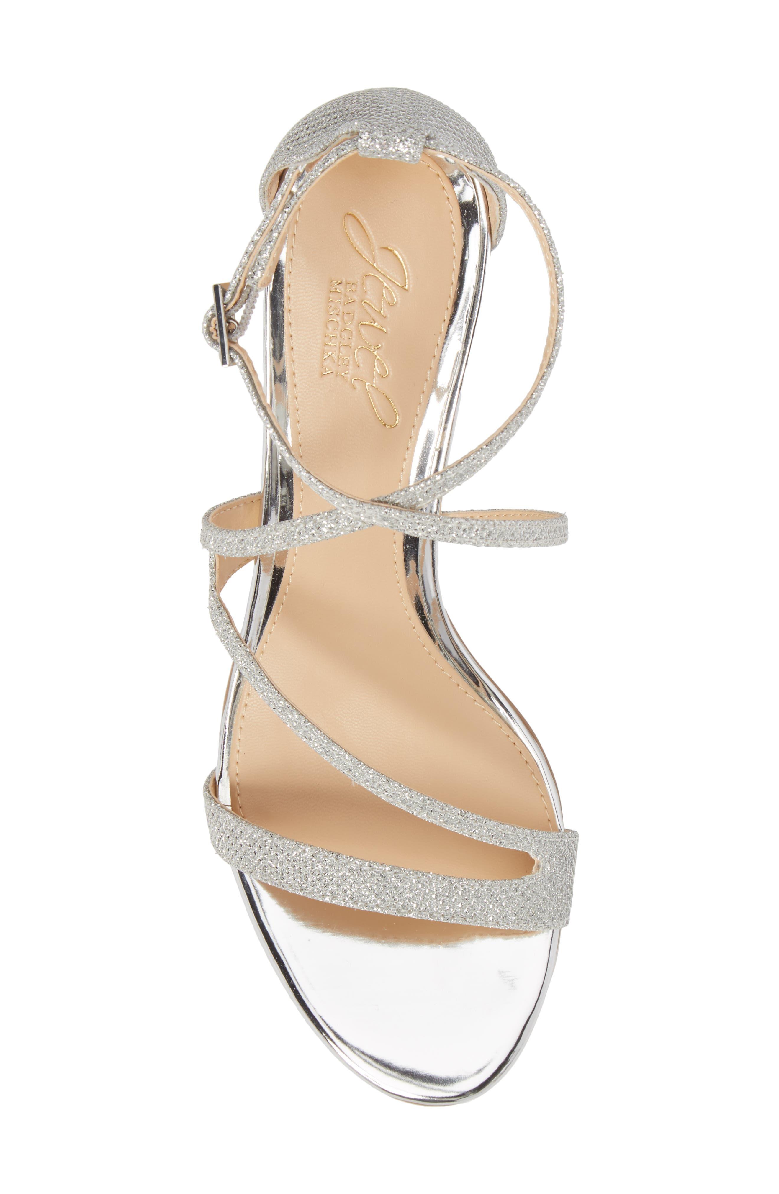 Gal Glitter Kitten Heel Sandal,                             Alternate thumbnail 5, color,                             Silver Glitter Fabric