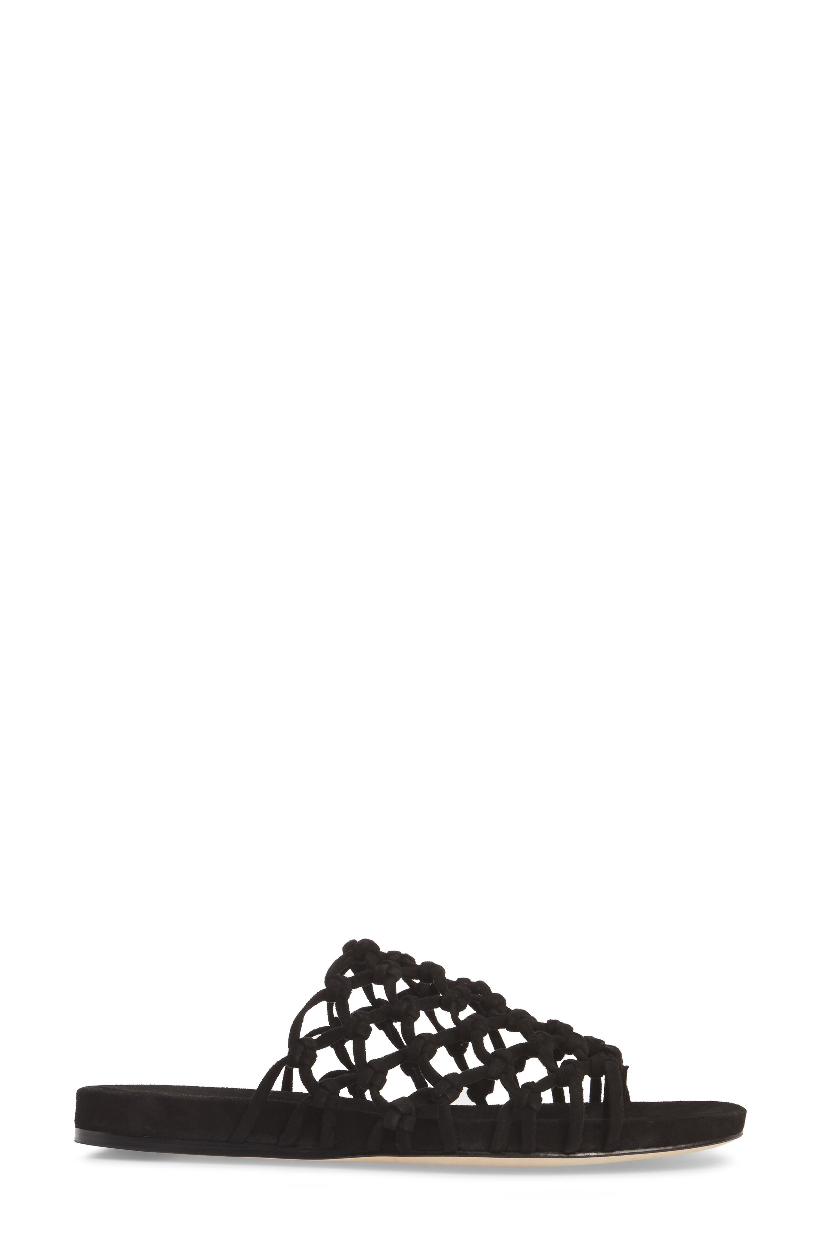 Aruba Slide Sandal,                             Alternate thumbnail 3, color,                             Black Suede