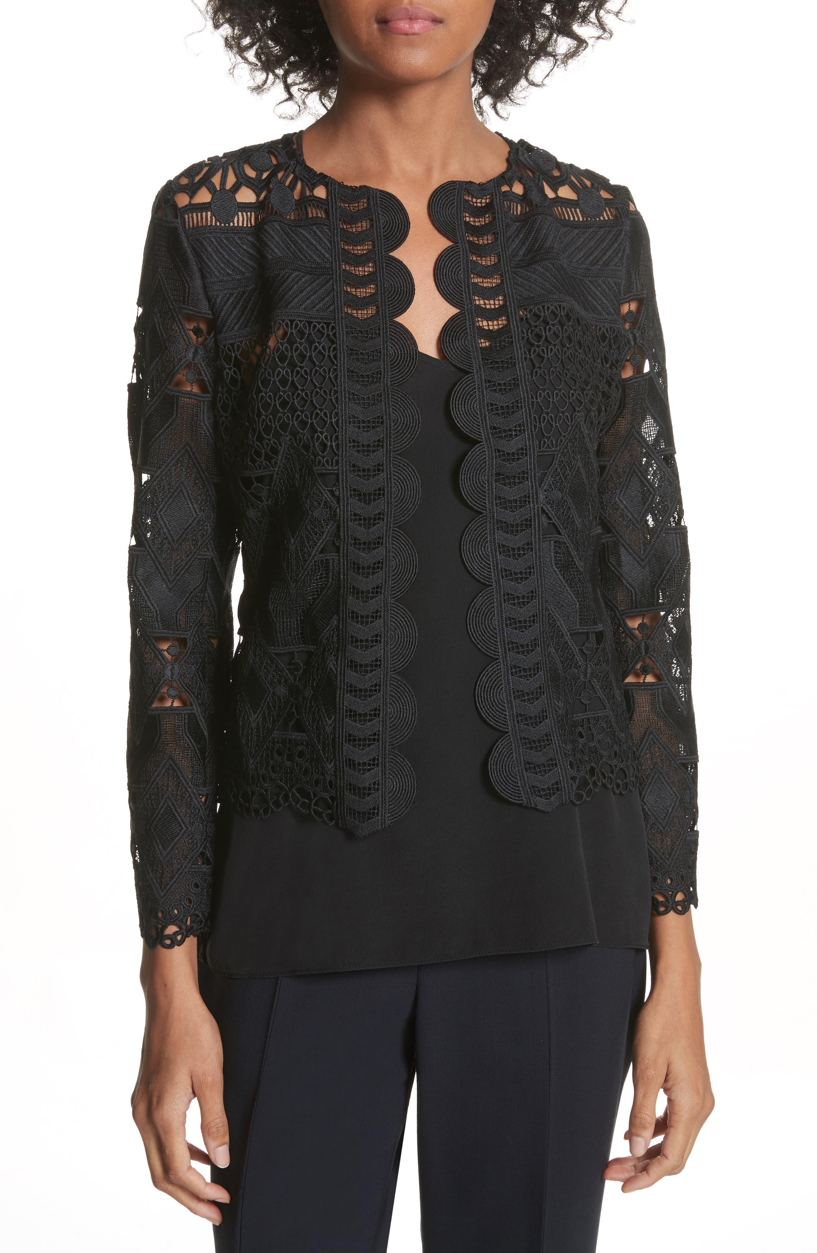 Crop Lace Jacket,                             Main thumbnail 1, color,                             Black