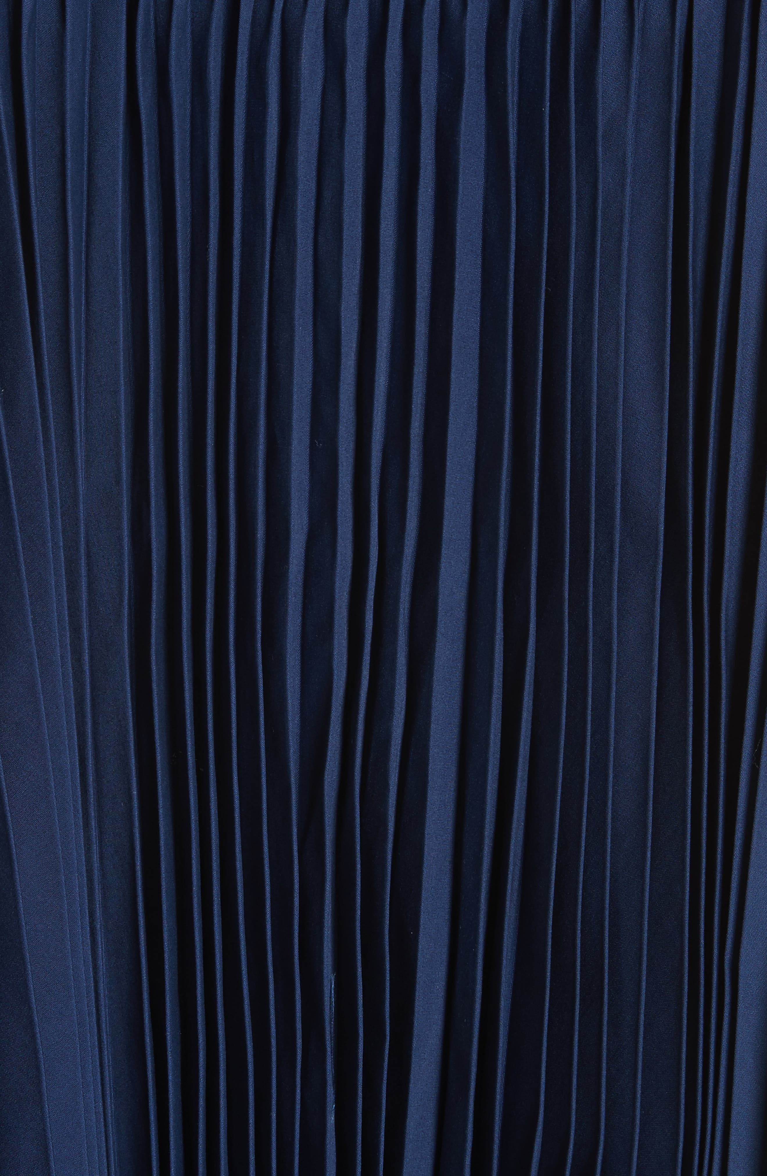 Pleated Trench Coat,                             Alternate thumbnail 6, color,                             Indigo-Blk-Nvy