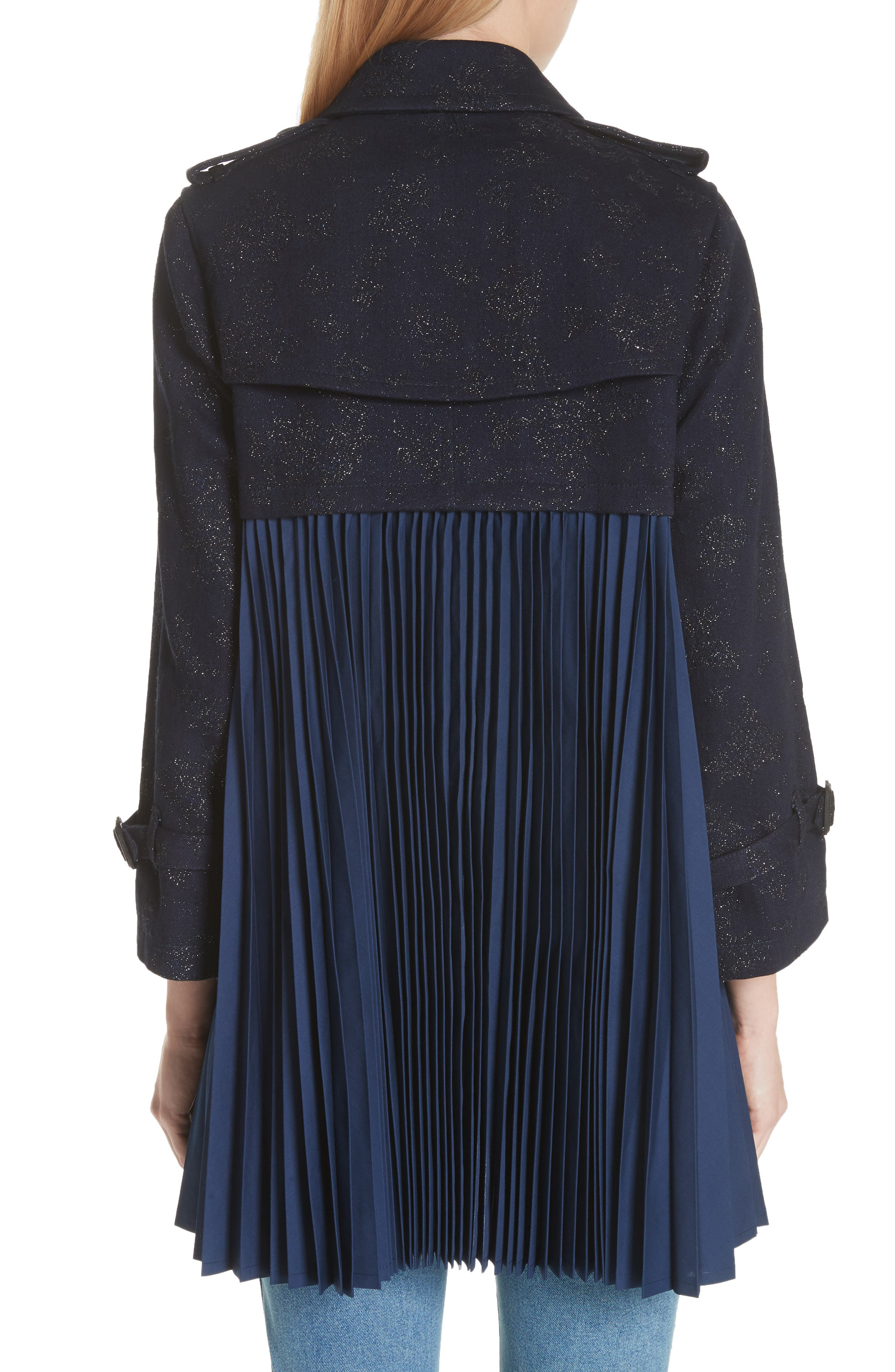 Pleated Trench Coat,                             Alternate thumbnail 2, color,                             Indigo-Blk-Nvy