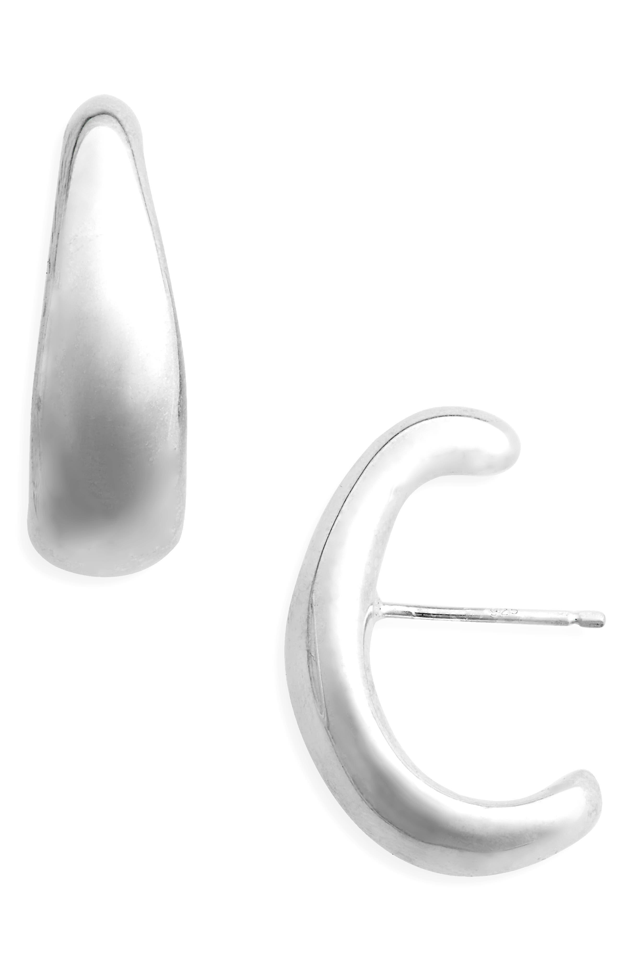 Large Lobe Earrings,                         Main,                         color, Sterling Silver
