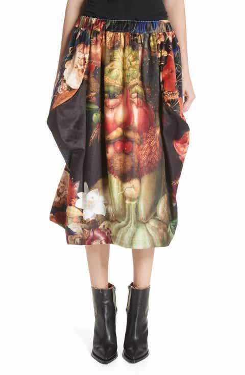 Comme des Garçons Vertumnus Print Velveteen Skirt