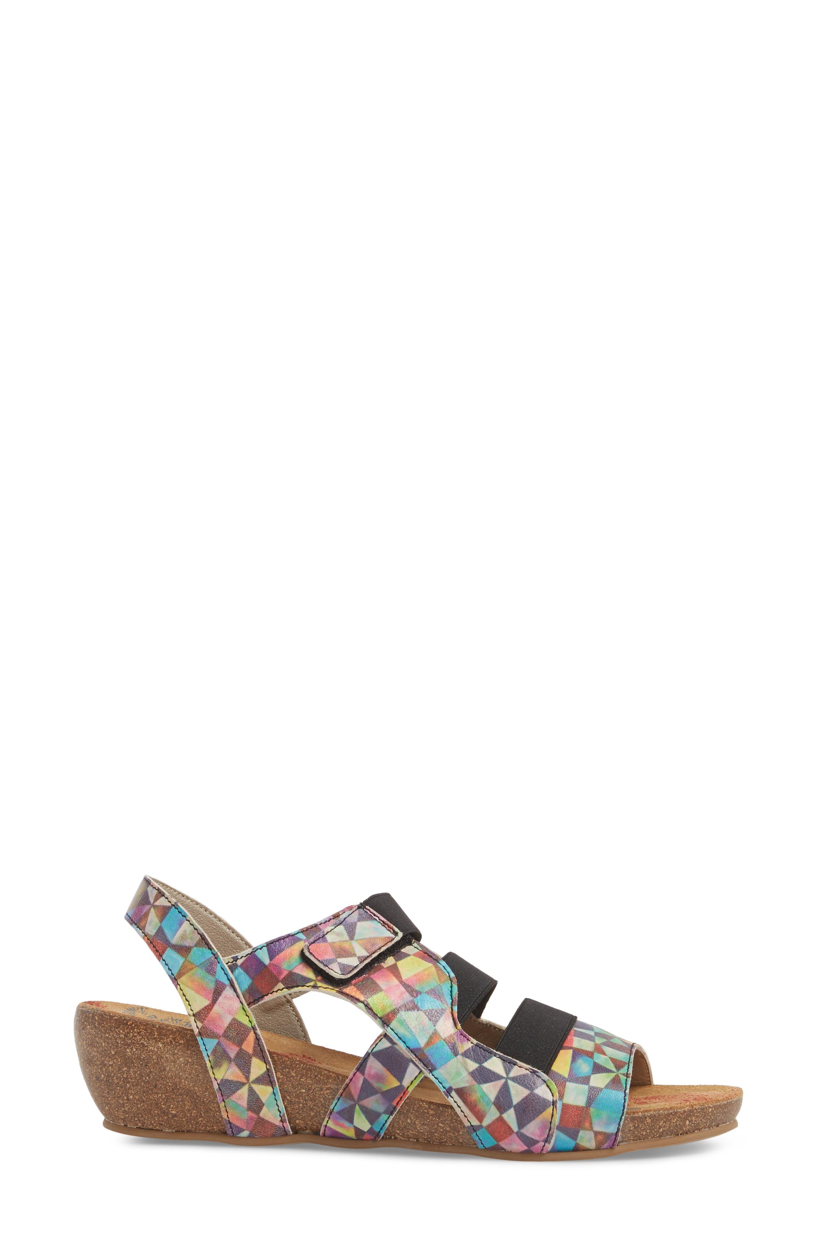 Duffy Wedge Sandal,                             Alternate thumbnail 3, color,                             Mystere Leather