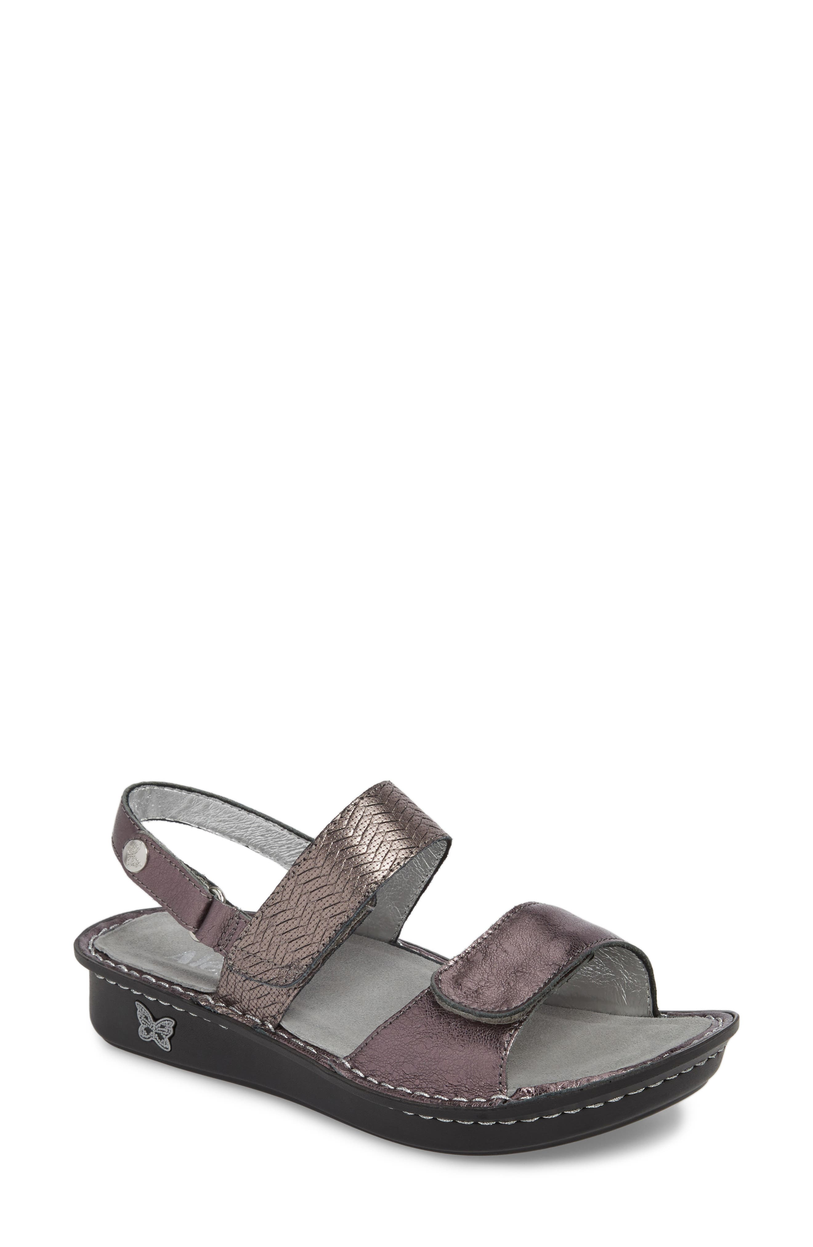 'Verona' Sandal,                             Main thumbnail 1, color,                             Braided Pewter Leather