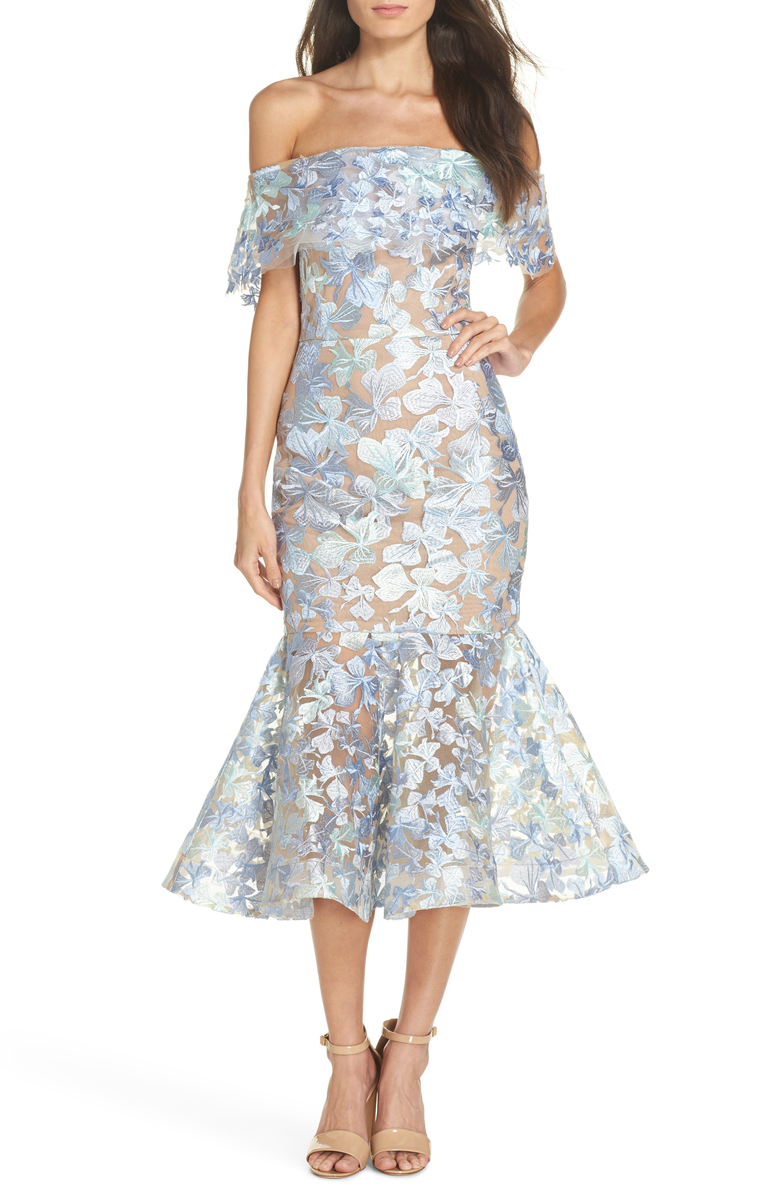 Butterfly Embroidered Off the Shoulder Mermaid Dress,                         Main,                         color, Blue/ Green