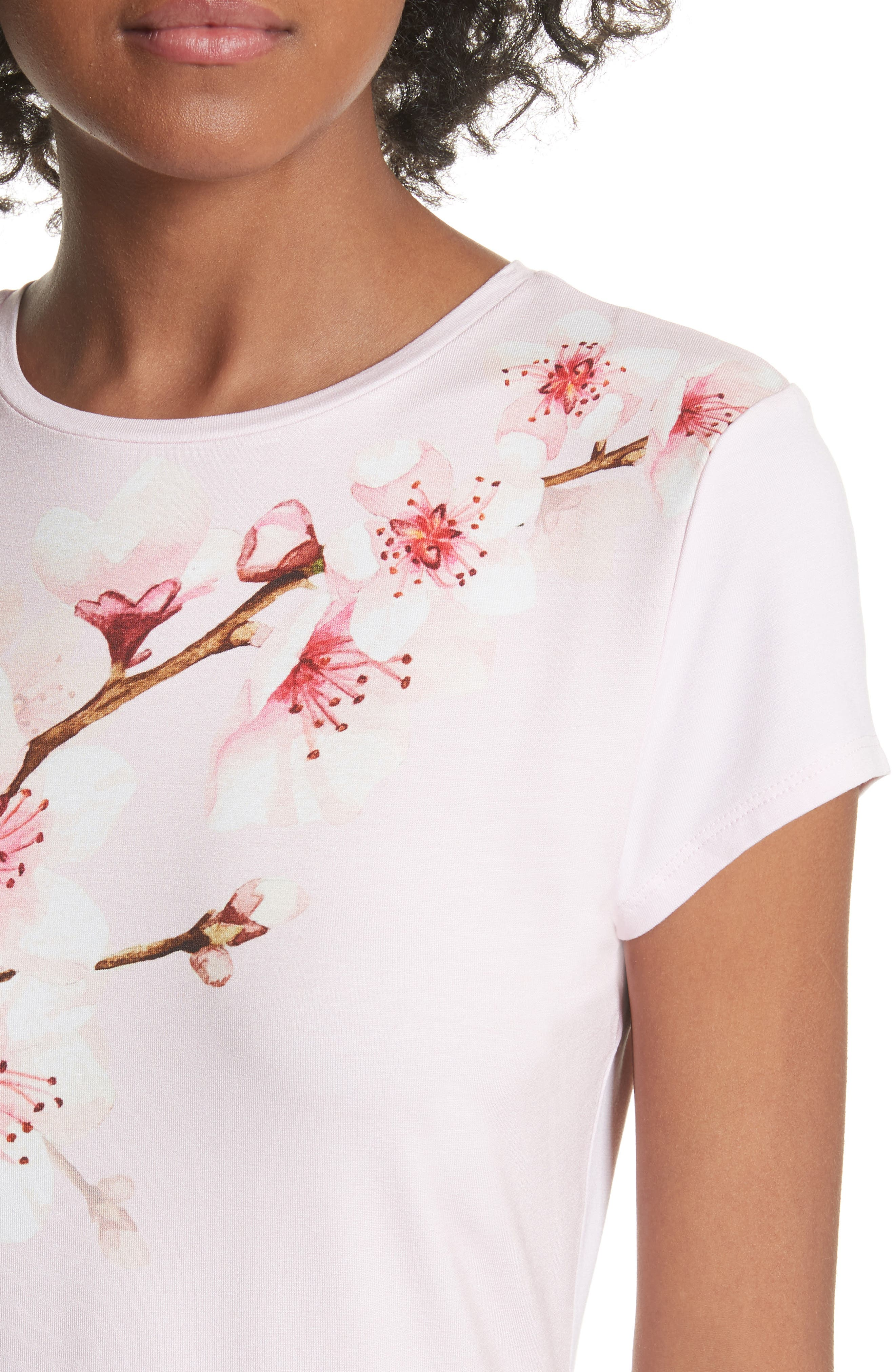 Soft Blossom Fitted Tee,                             Alternate thumbnail 4, color,                             Light Pink