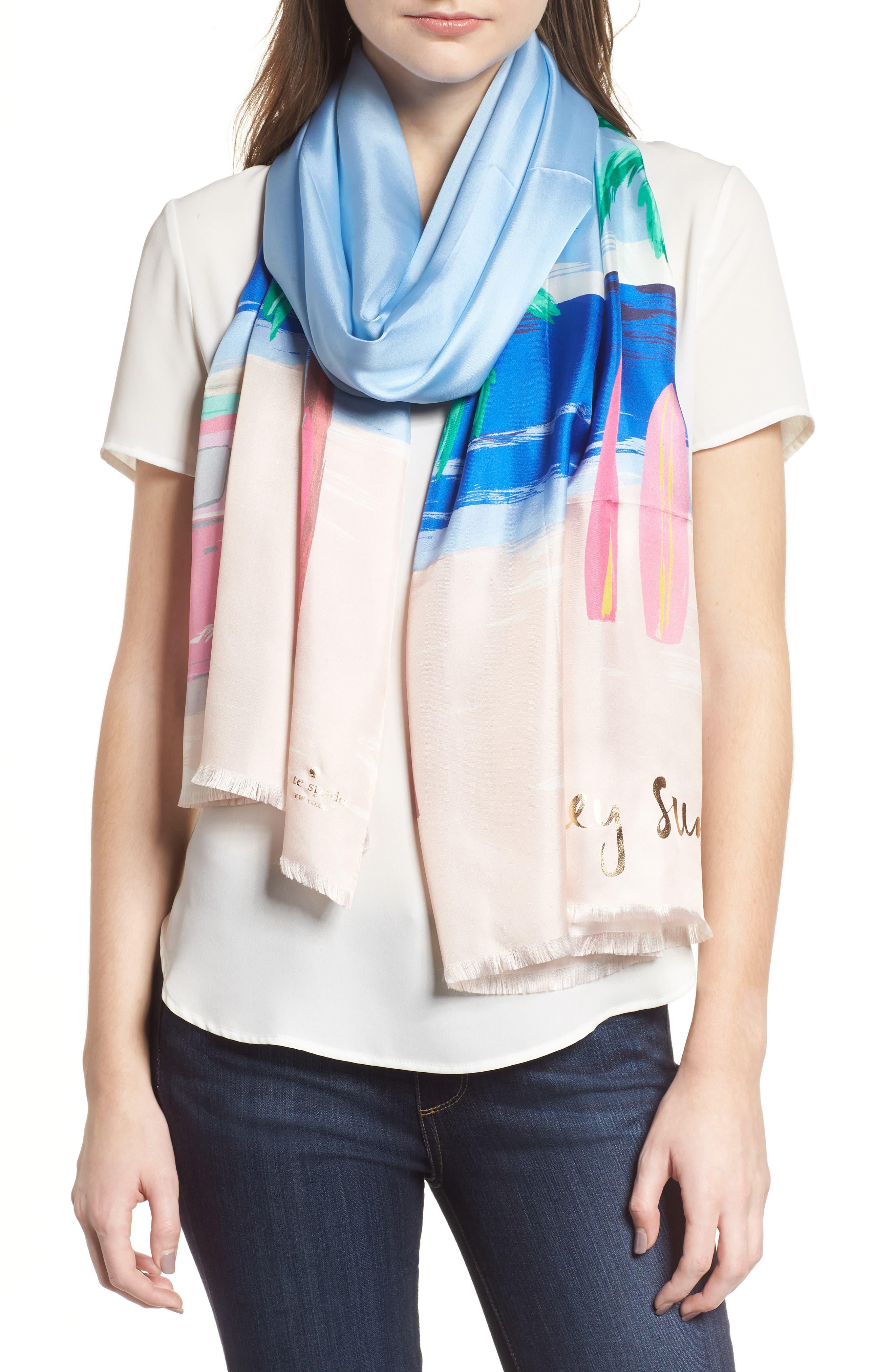beach scene silk scarf,                             Main thumbnail 1, color,                             Bayside Blue
