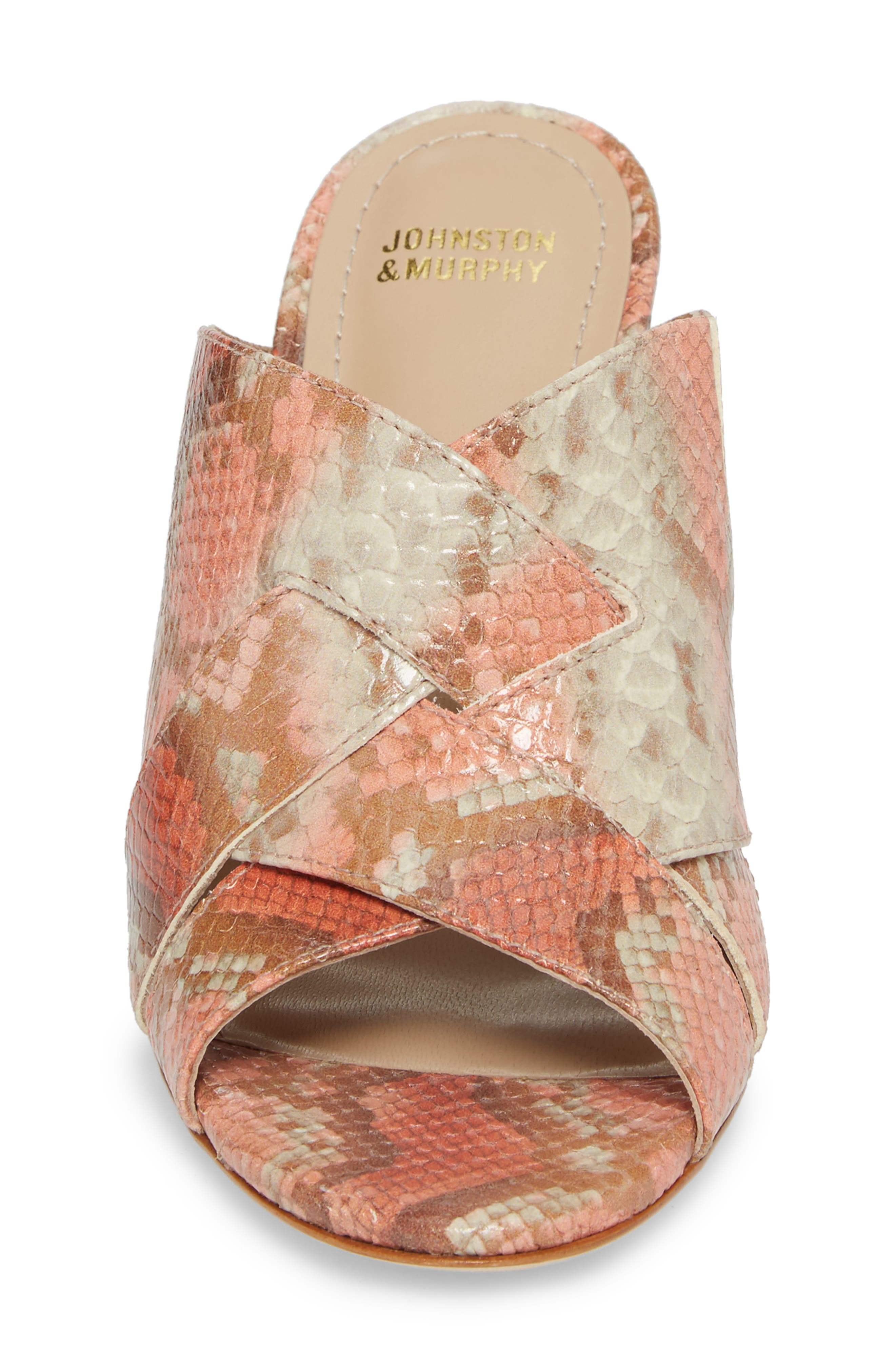 Carrie Mule Sandal,                             Alternate thumbnail 4, color,                             Coral Leather