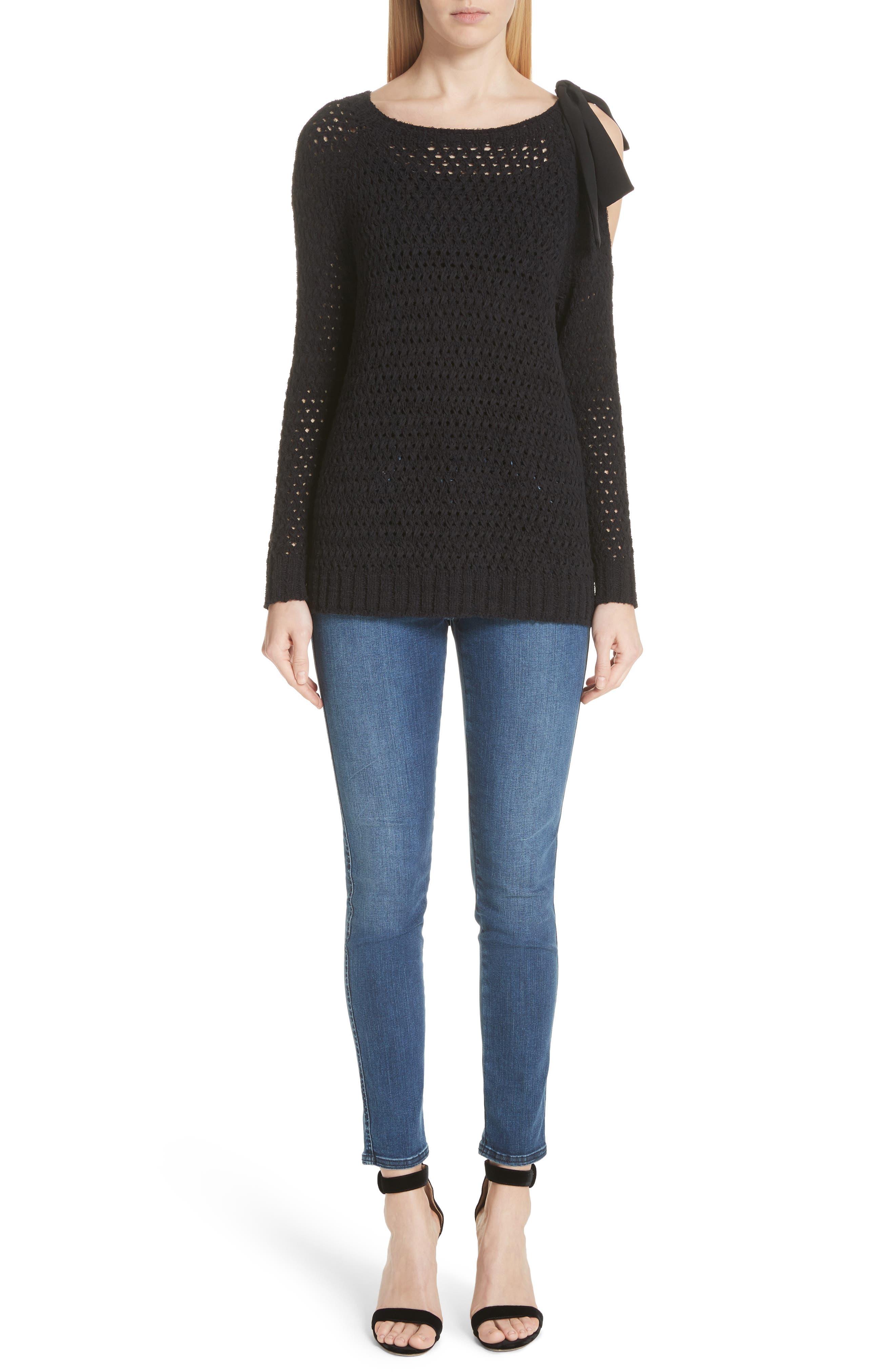 Crisscross Open Stitch Cold Shoulder Sweater,                             Alternate thumbnail 8, color,                             Caviar