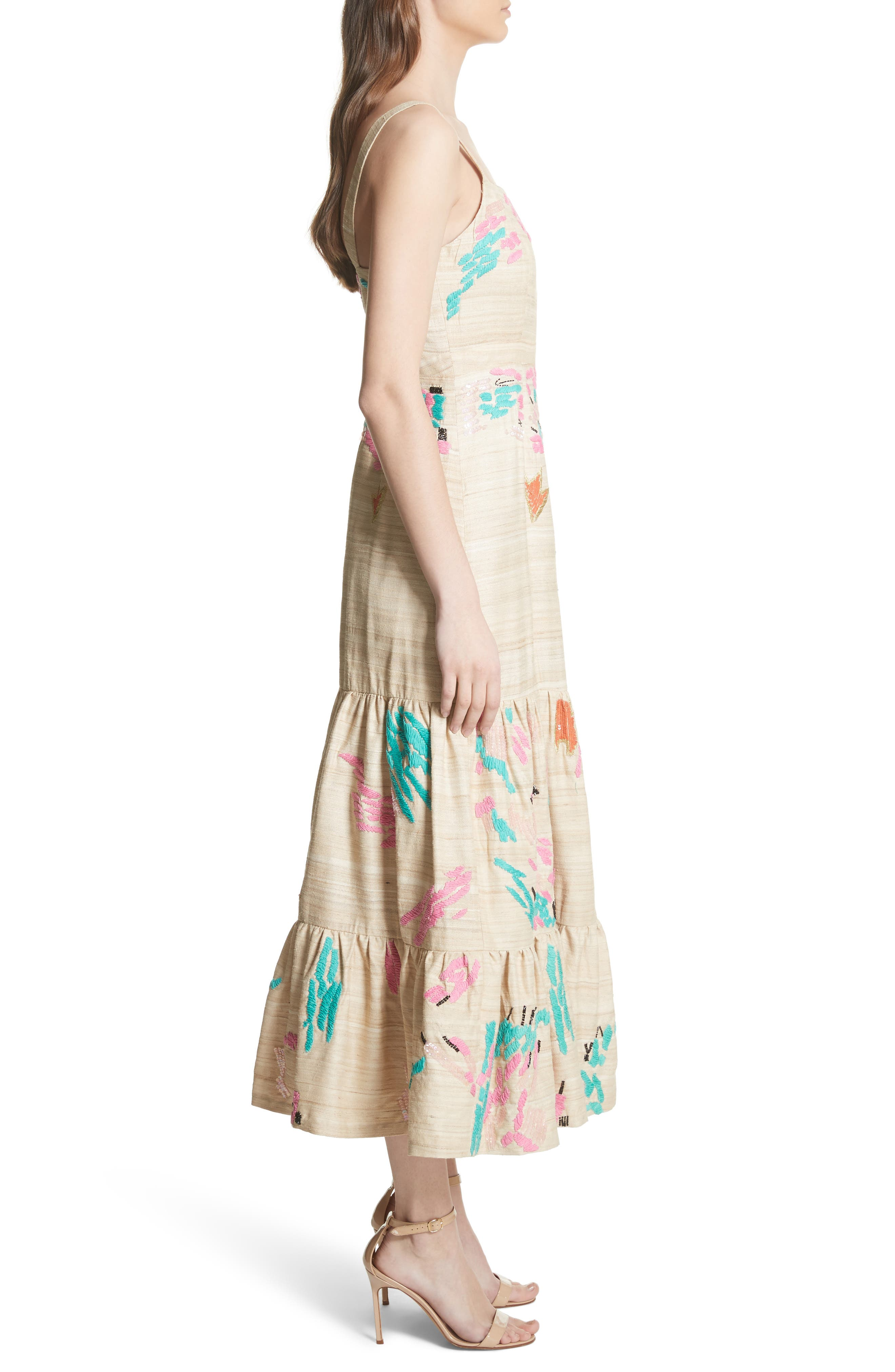 Tiered Silk Embroidered Maxi Dress,                             Alternate thumbnail 3, color,                             Raw Silk
