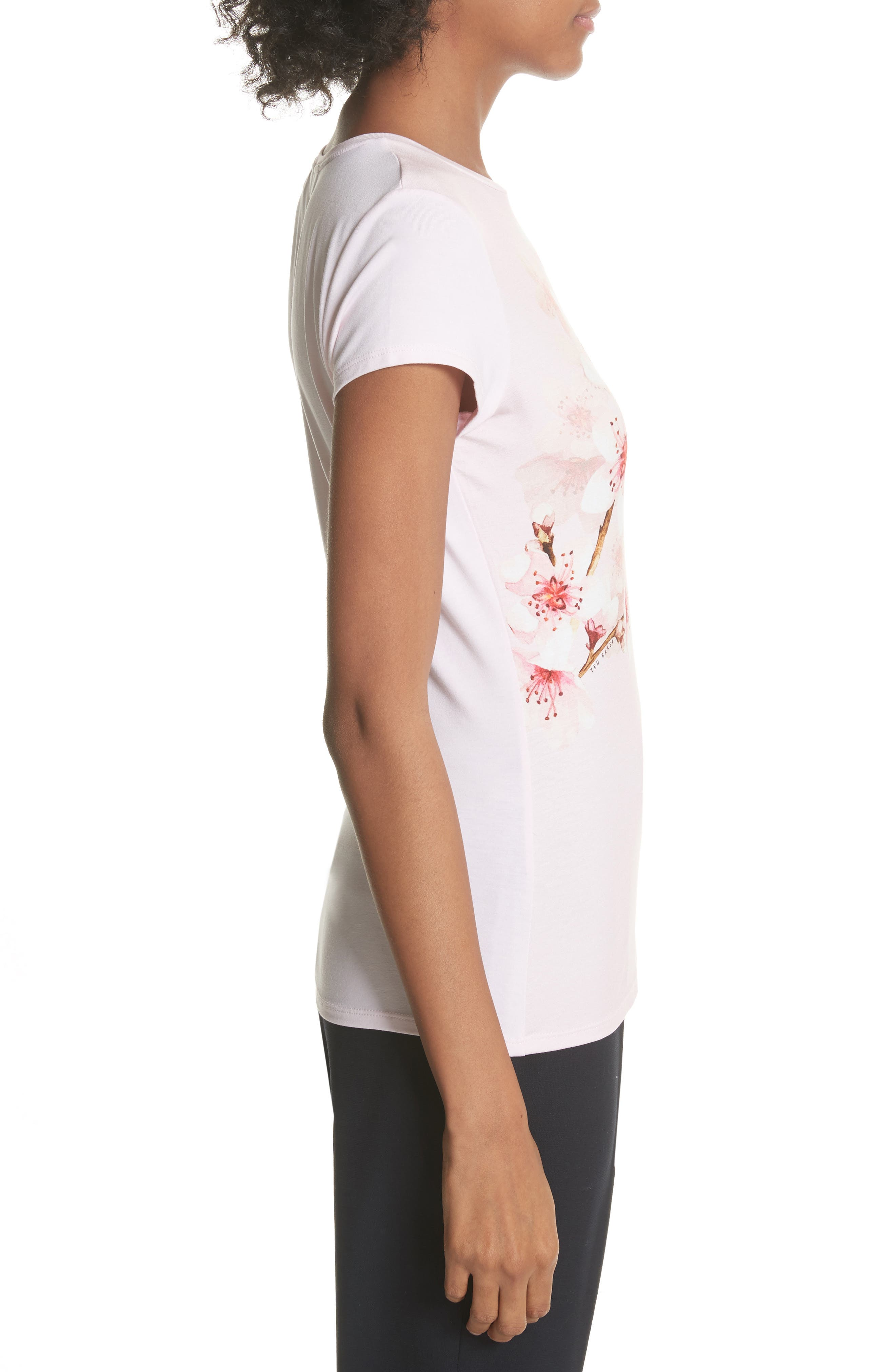 Soft Blossom Fitted Tee,                             Alternate thumbnail 3, color,                             Light Pink