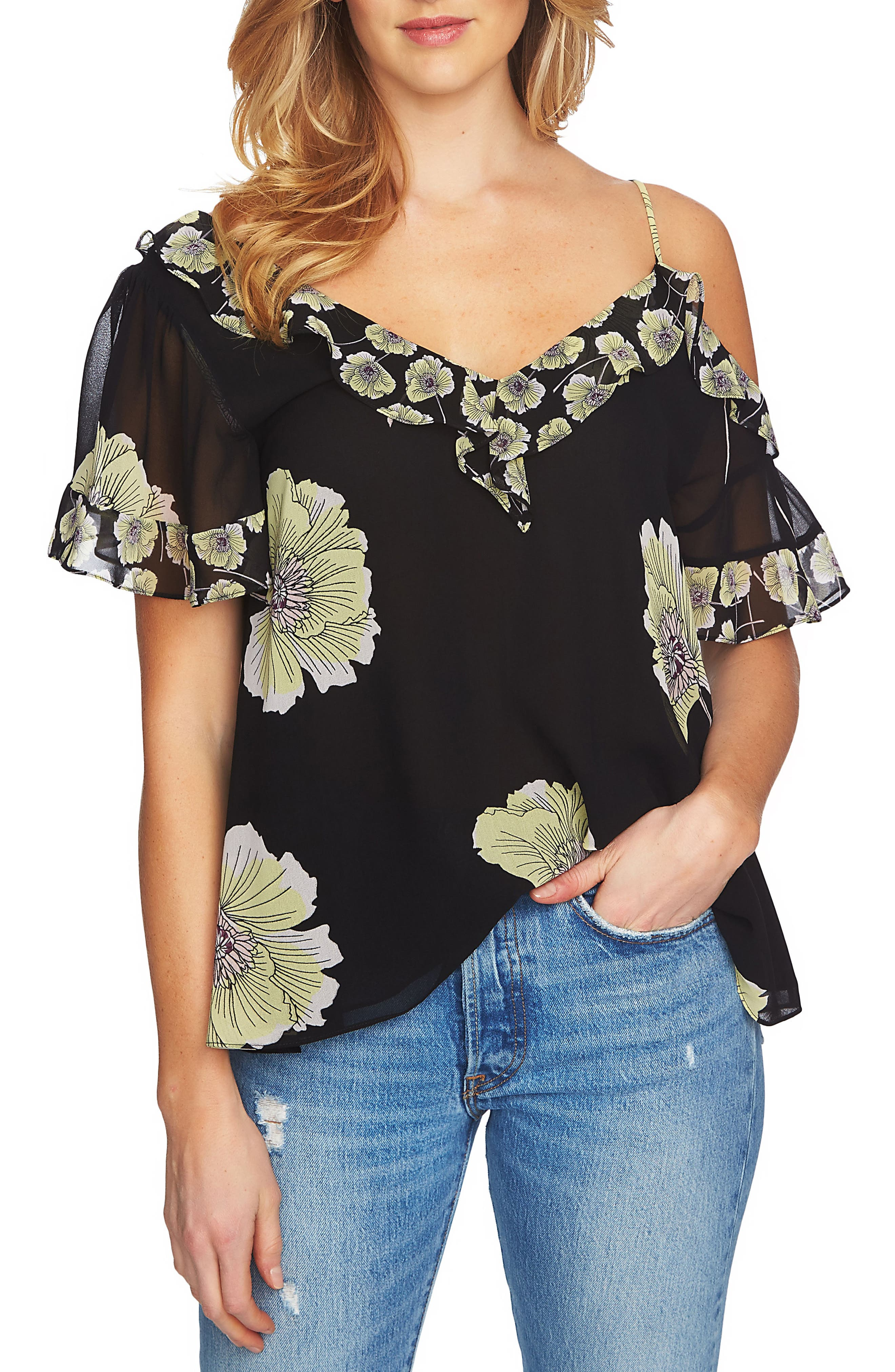 1.STATE Mixed Print Blouse