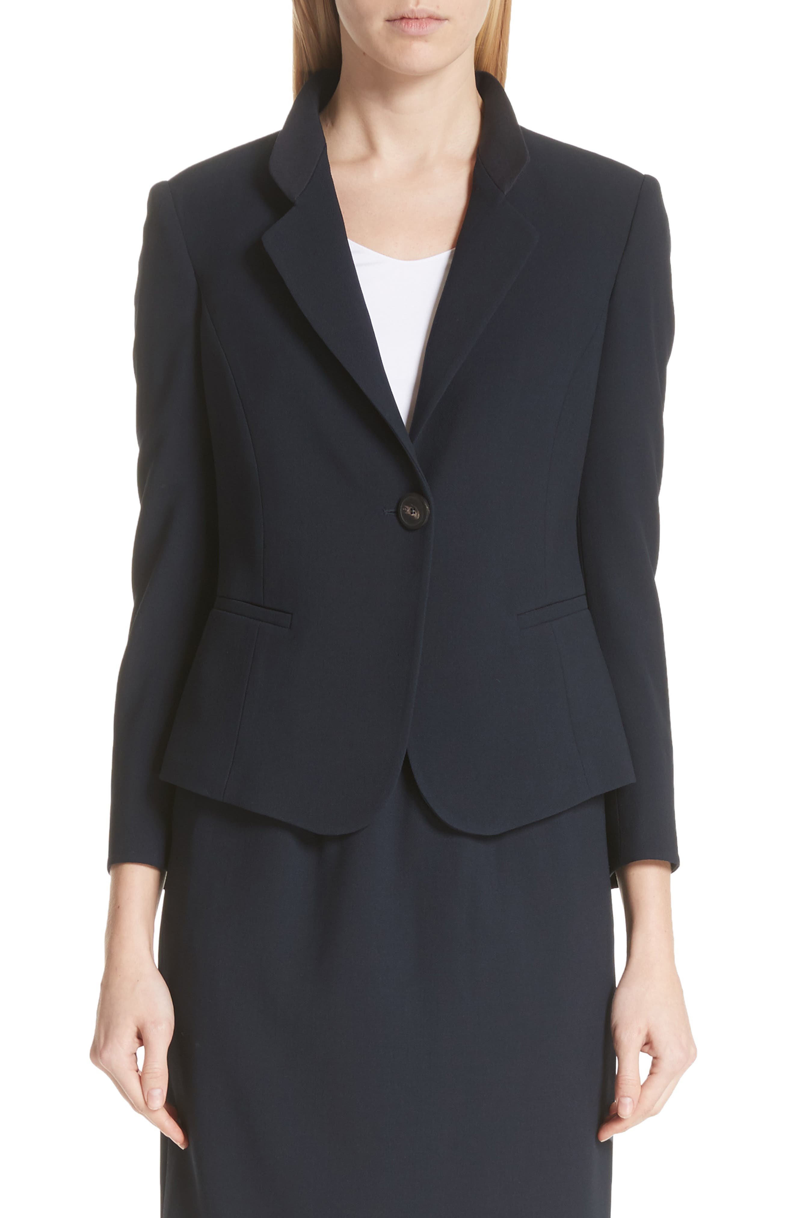 Pop Collar Stretch Wool Crepe Blazer,                         Main,                         color, Navy