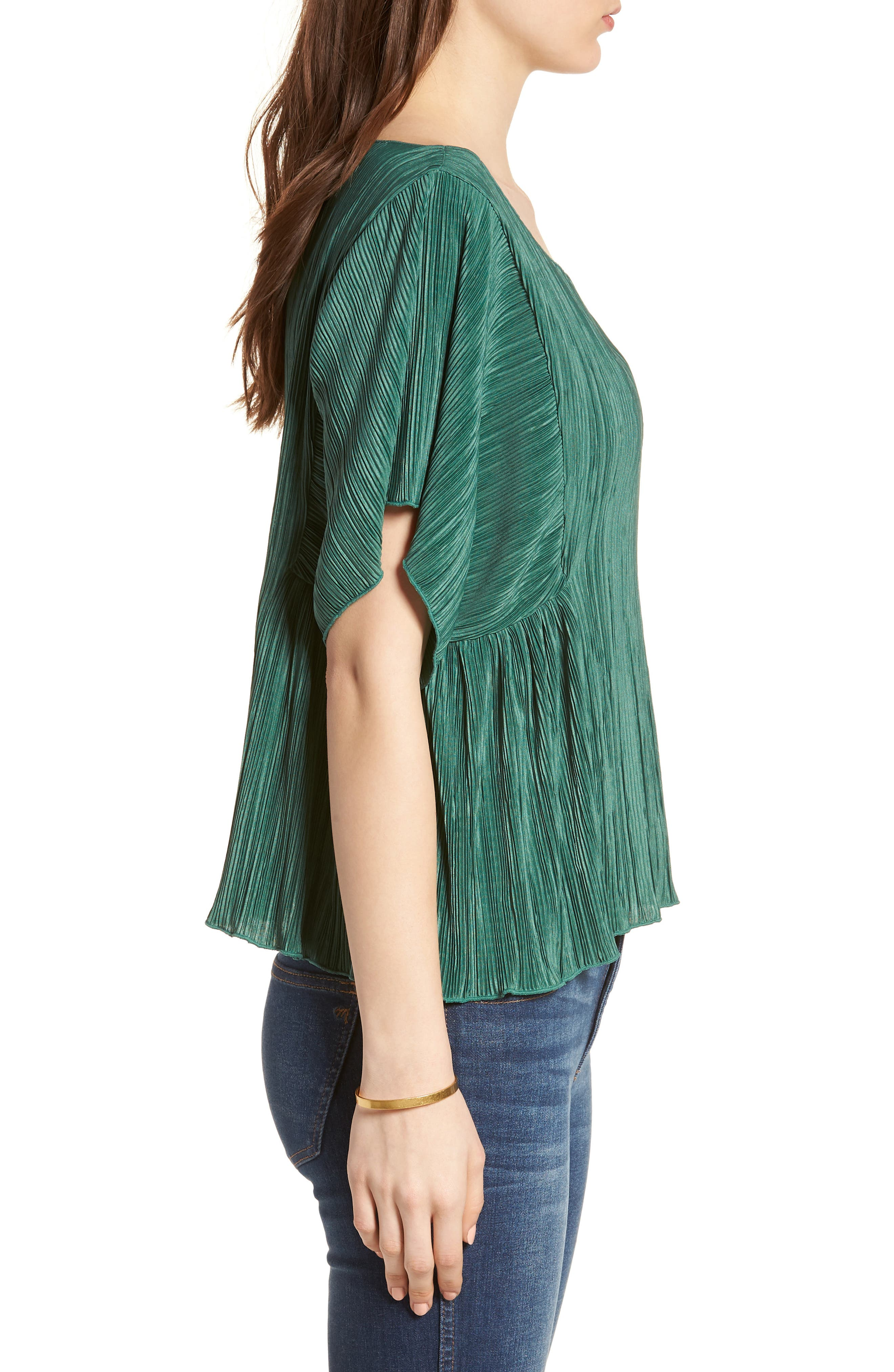Micropleat Top,                             Alternate thumbnail 3, color,                             Dark Green