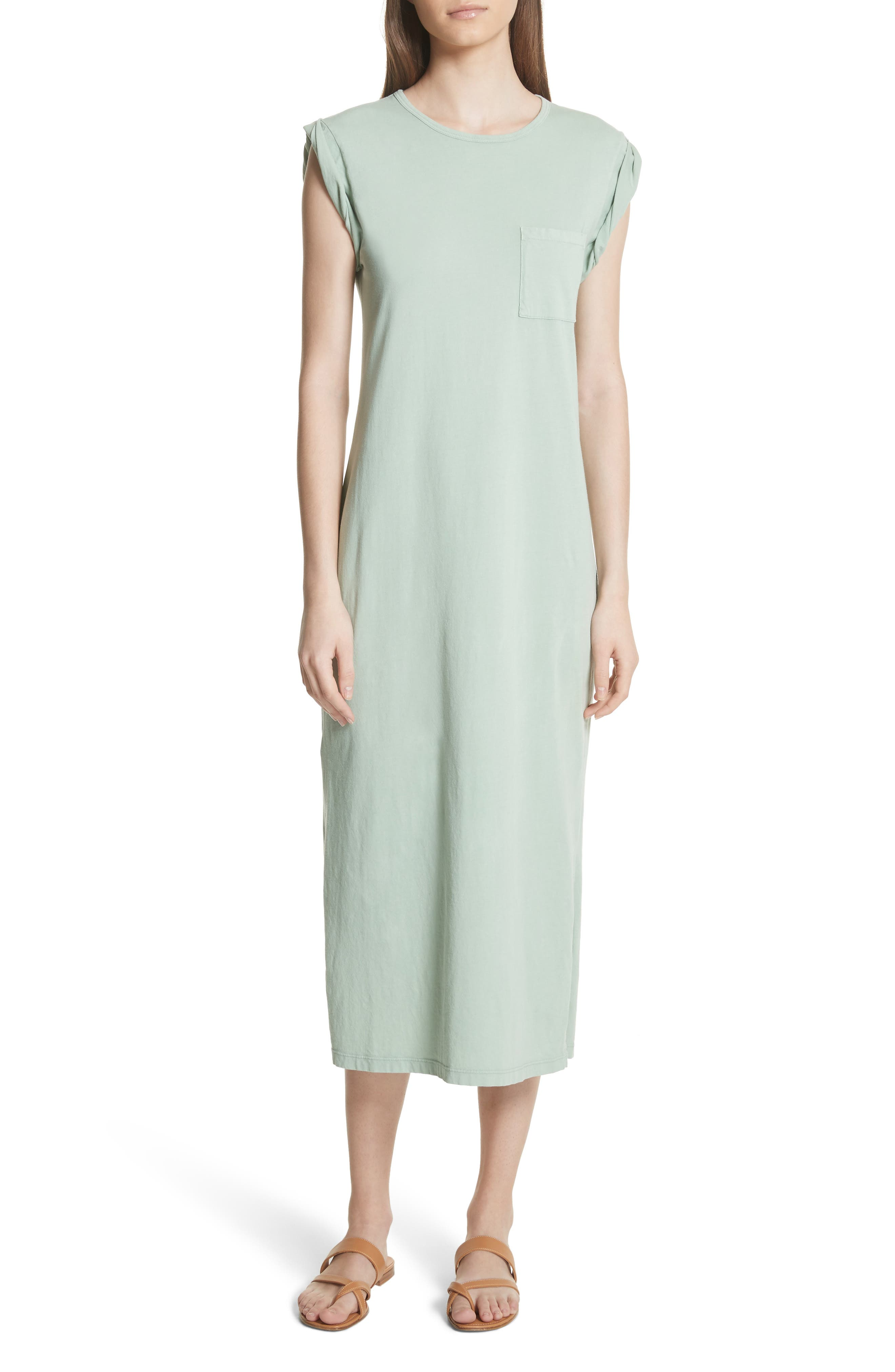 Muscle P Relaxed T-Shirt Dress,                         Main,                         color, Light Moss