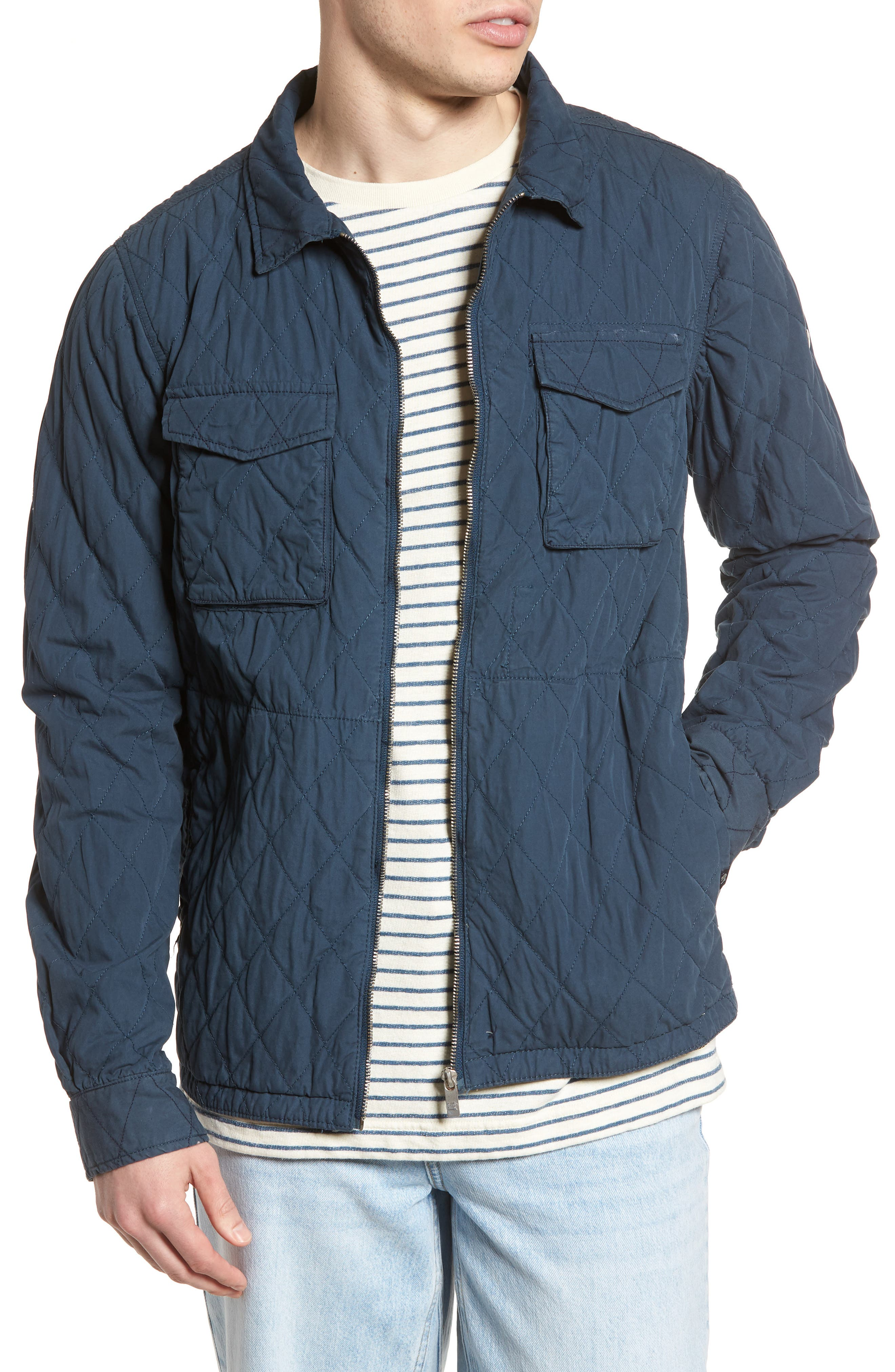 Quilted Shirt Jacket,                             Main thumbnail 1, color,                             Steel