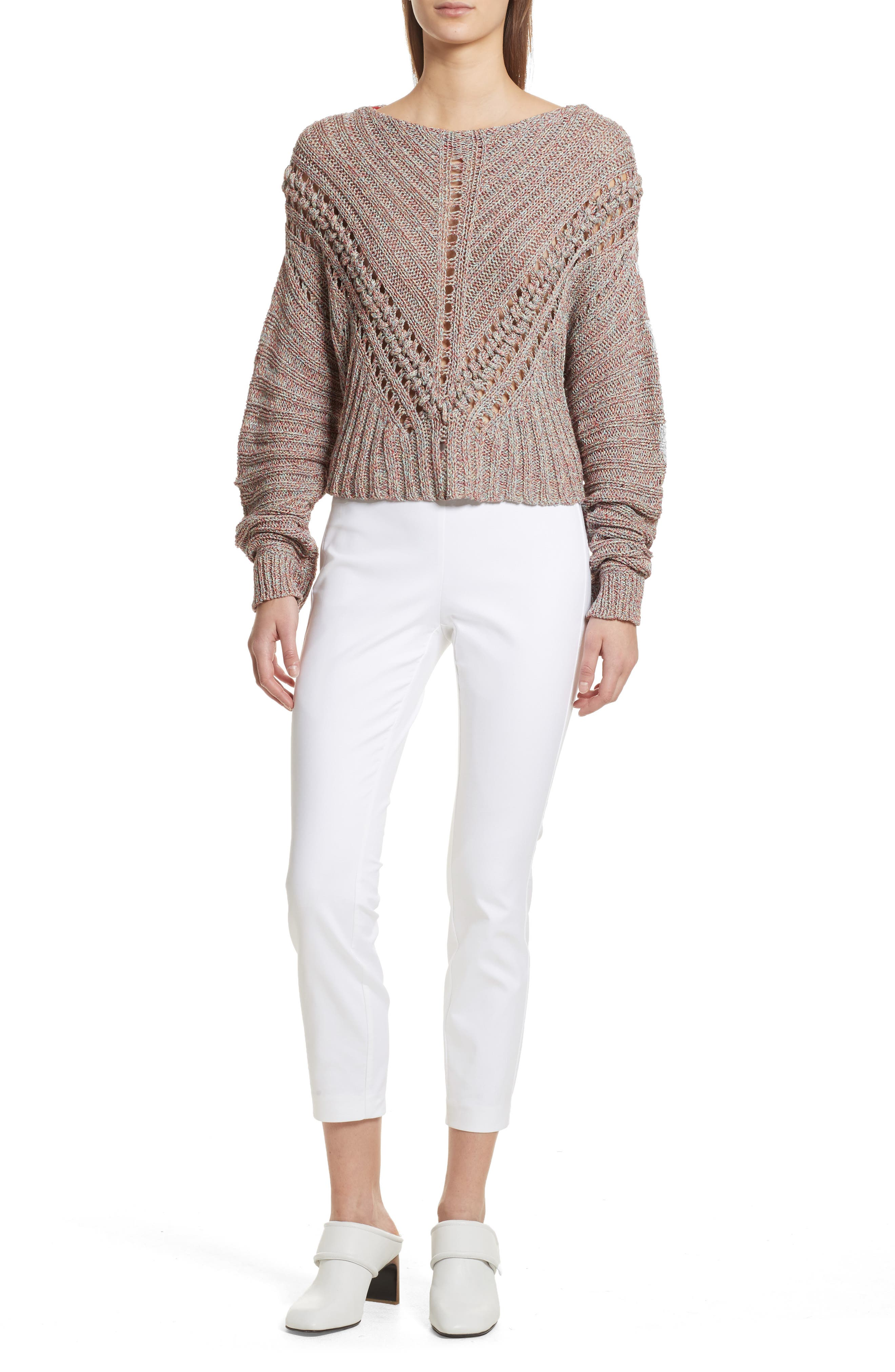 Roman Pointelle Ribbed Sweater,                             Alternate thumbnail 2, color,                             Pink