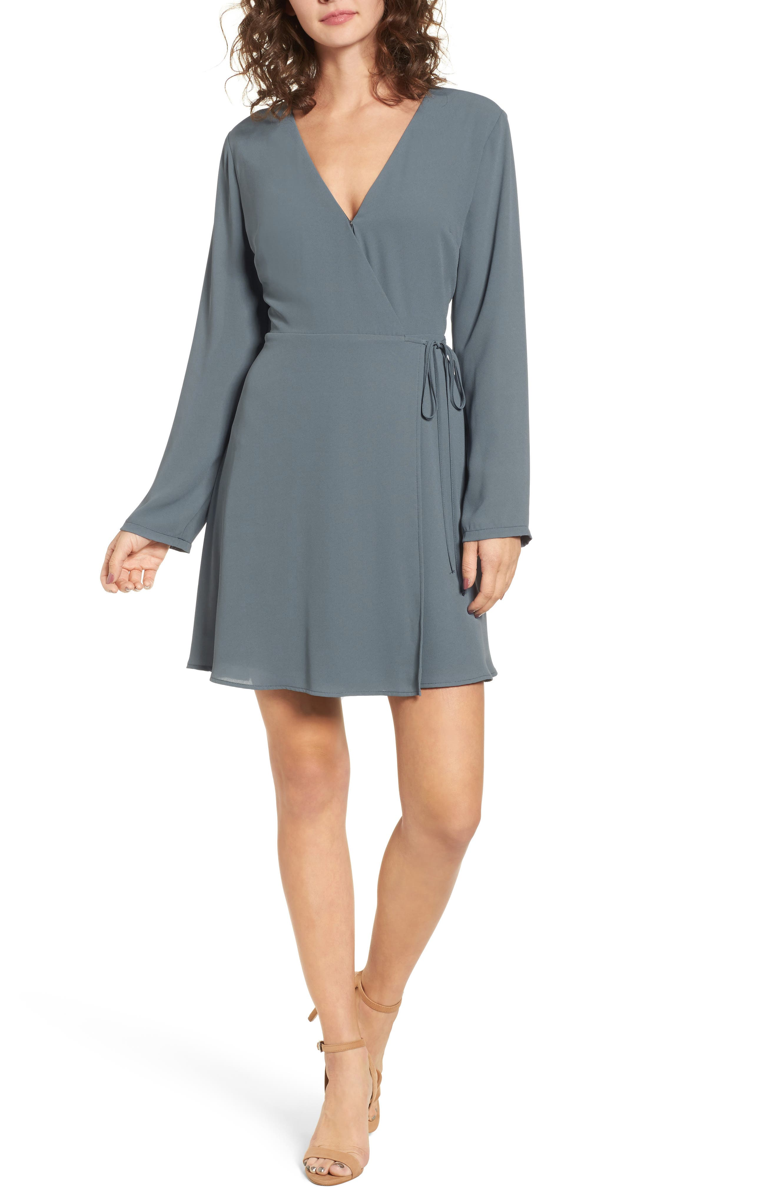 Elly Wrap Dress,                             Main thumbnail 1, color,                             Stormy Weather