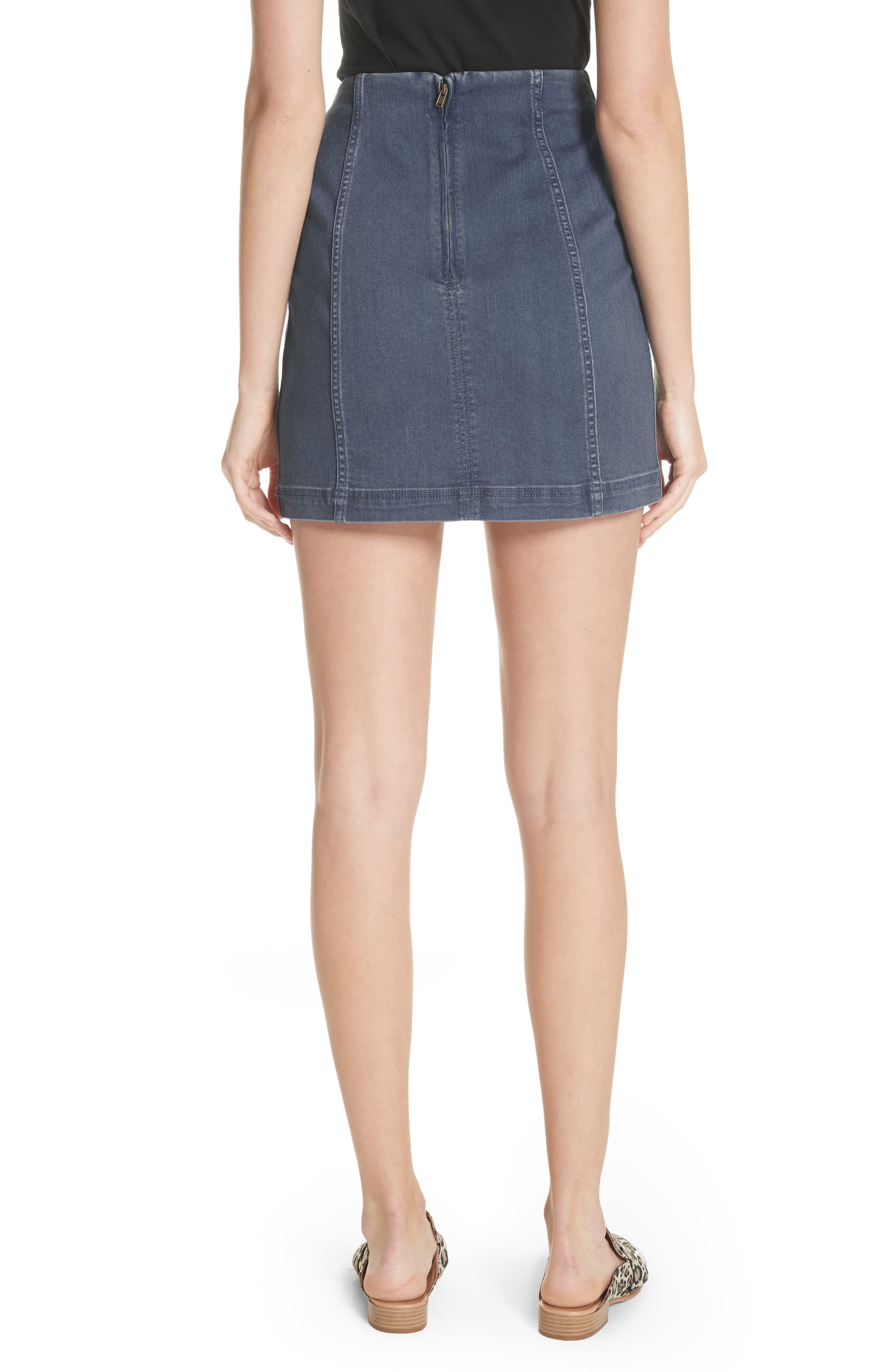 'Modern Femme' Denim Miniskirt,                             Alternate thumbnail 2, color,                             Blue