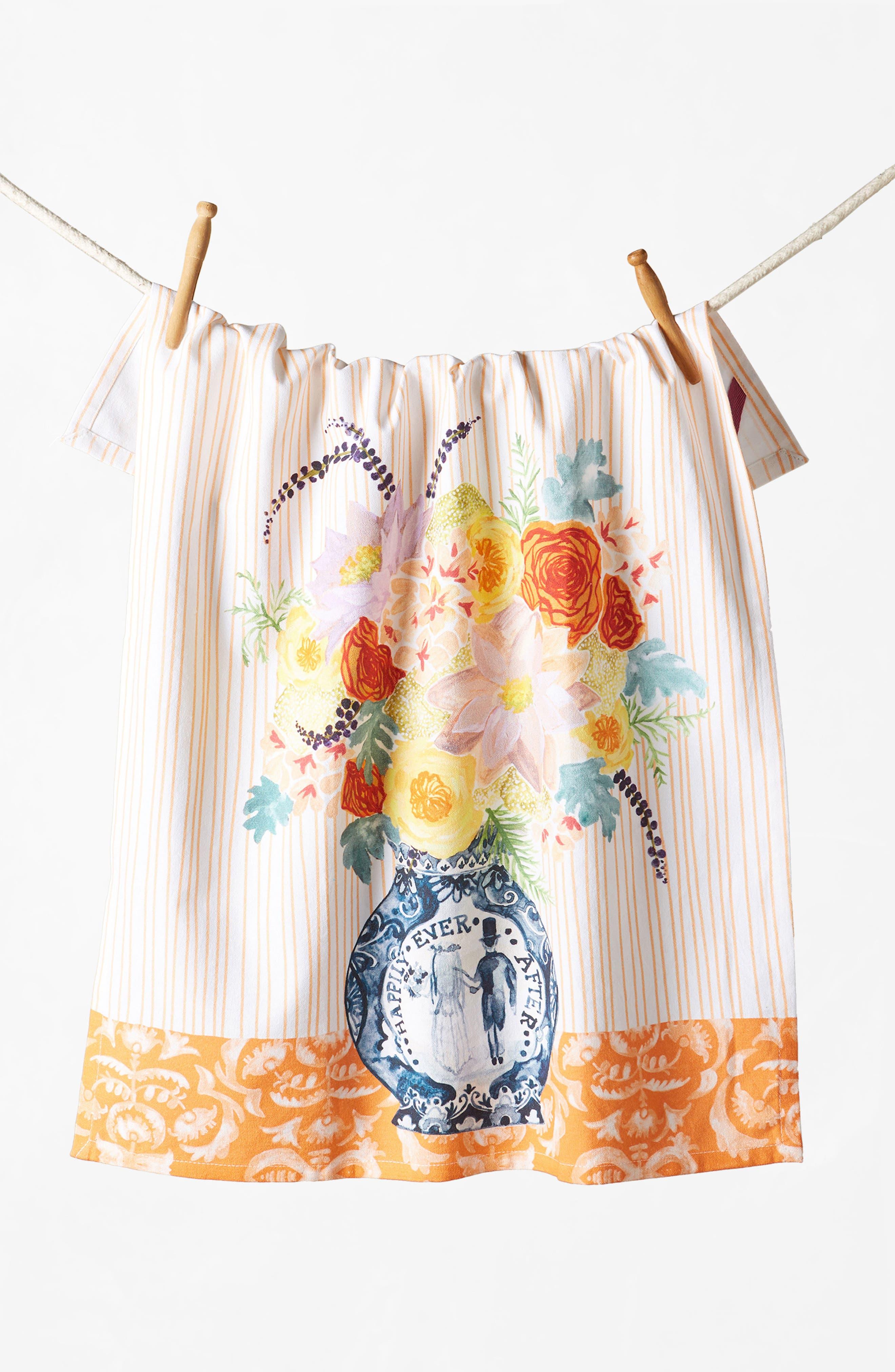 Post-Impressionism Tea Towel,                             Alternate thumbnail 4, color,                             Coral