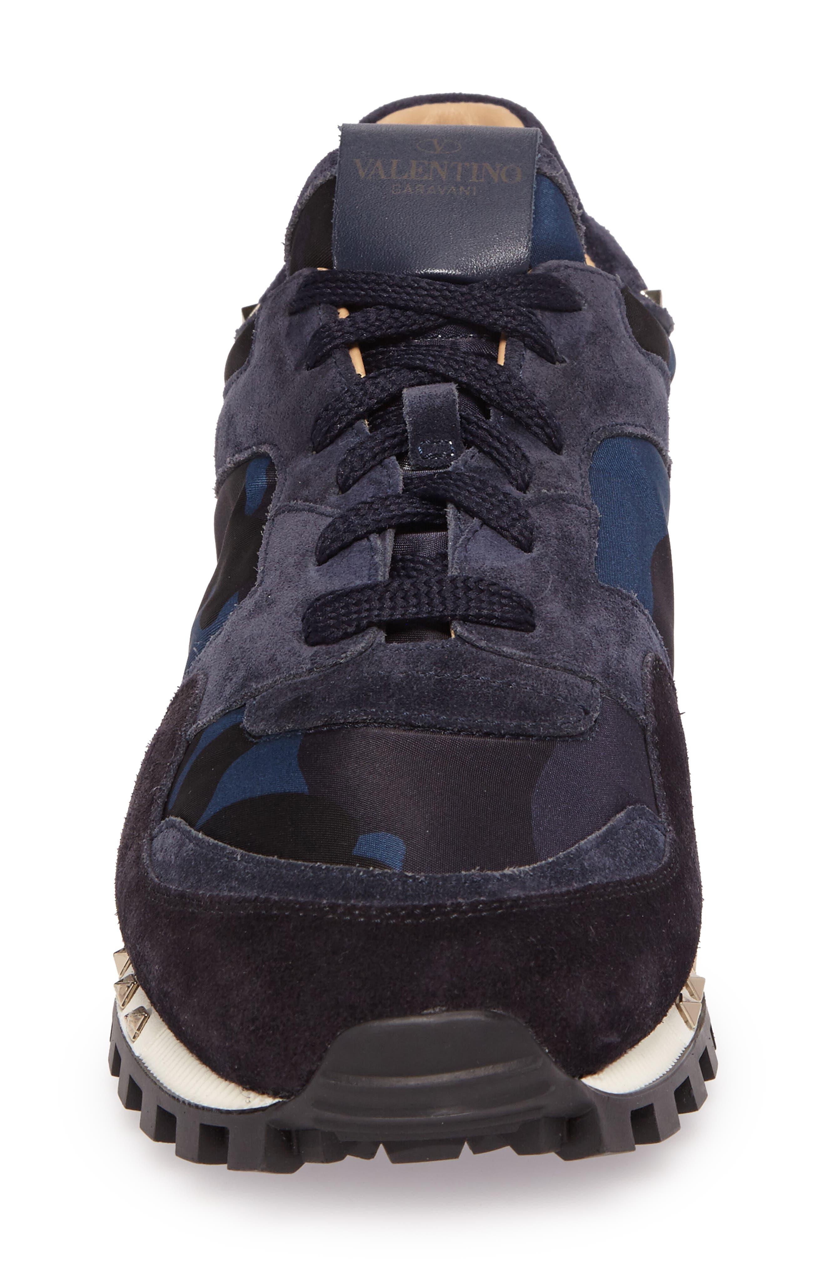 Camo Rockstud Sneaker,                             Alternate thumbnail 4, color,                             Marine/ Nero/ Dark Blue